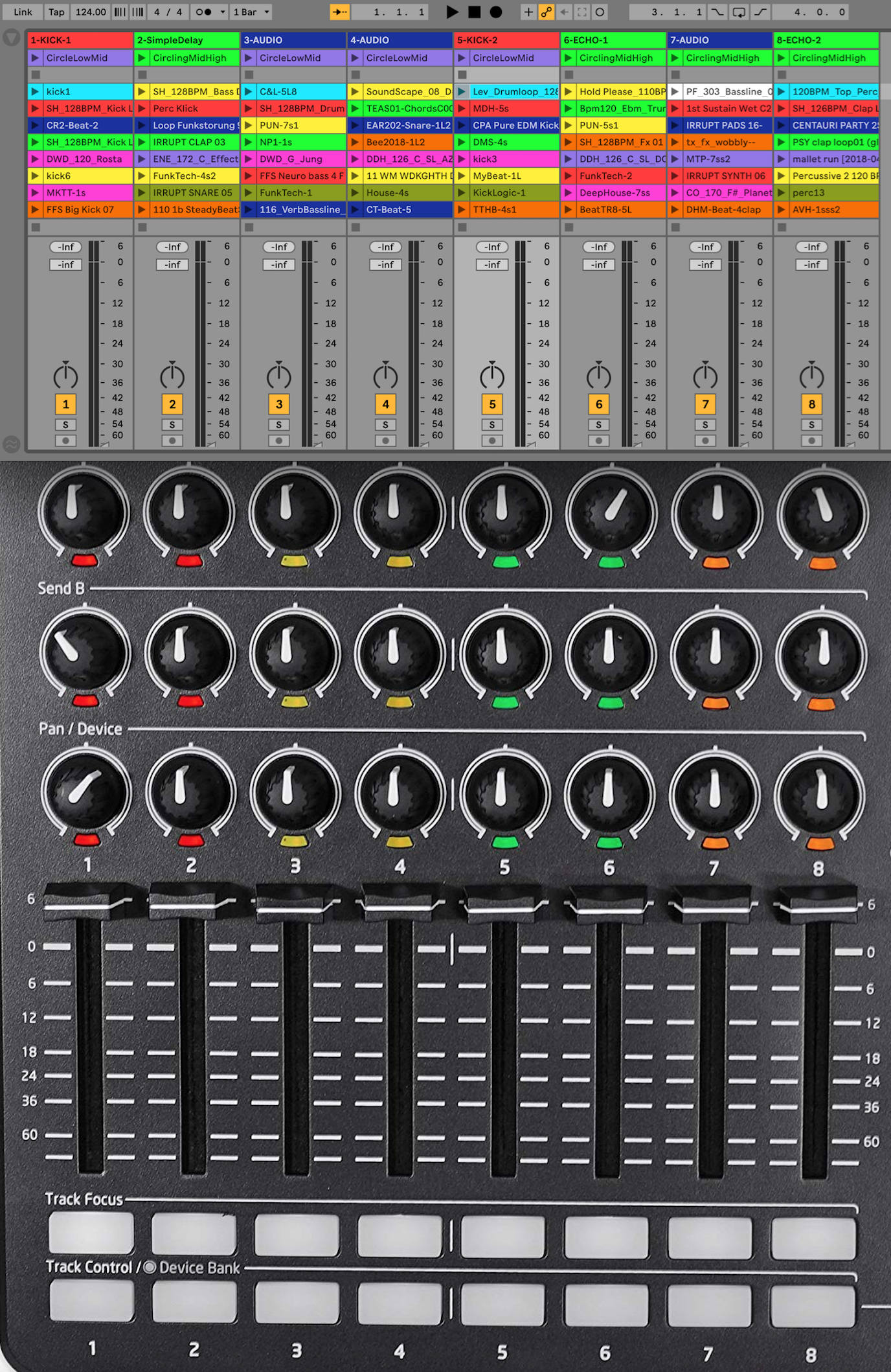Figure 29 – Ableton session of 8 audio tracks template with the Novation Controller, 2019.