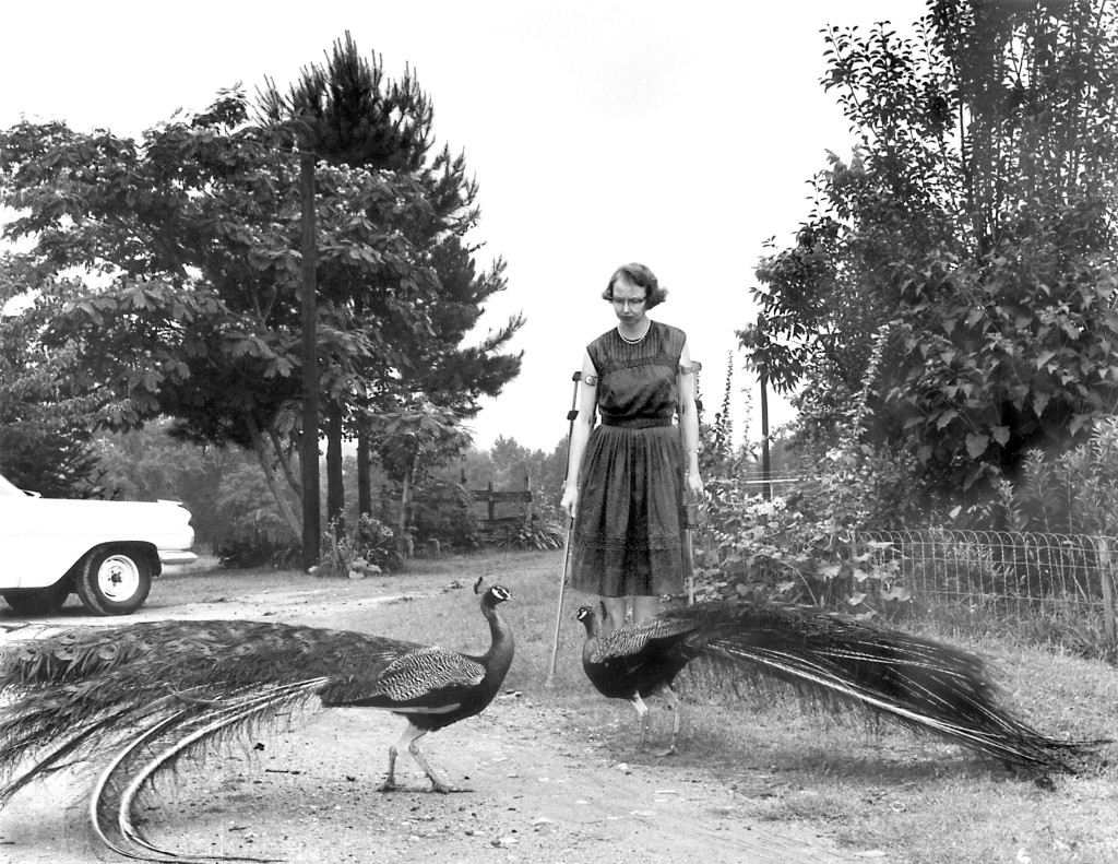 FLANNERY O'CONNOR IN THE DRIVEWAY AT ANDALUSIA, 1962. © JOE MCTYRE/ATLANTA CONSTITUTION.