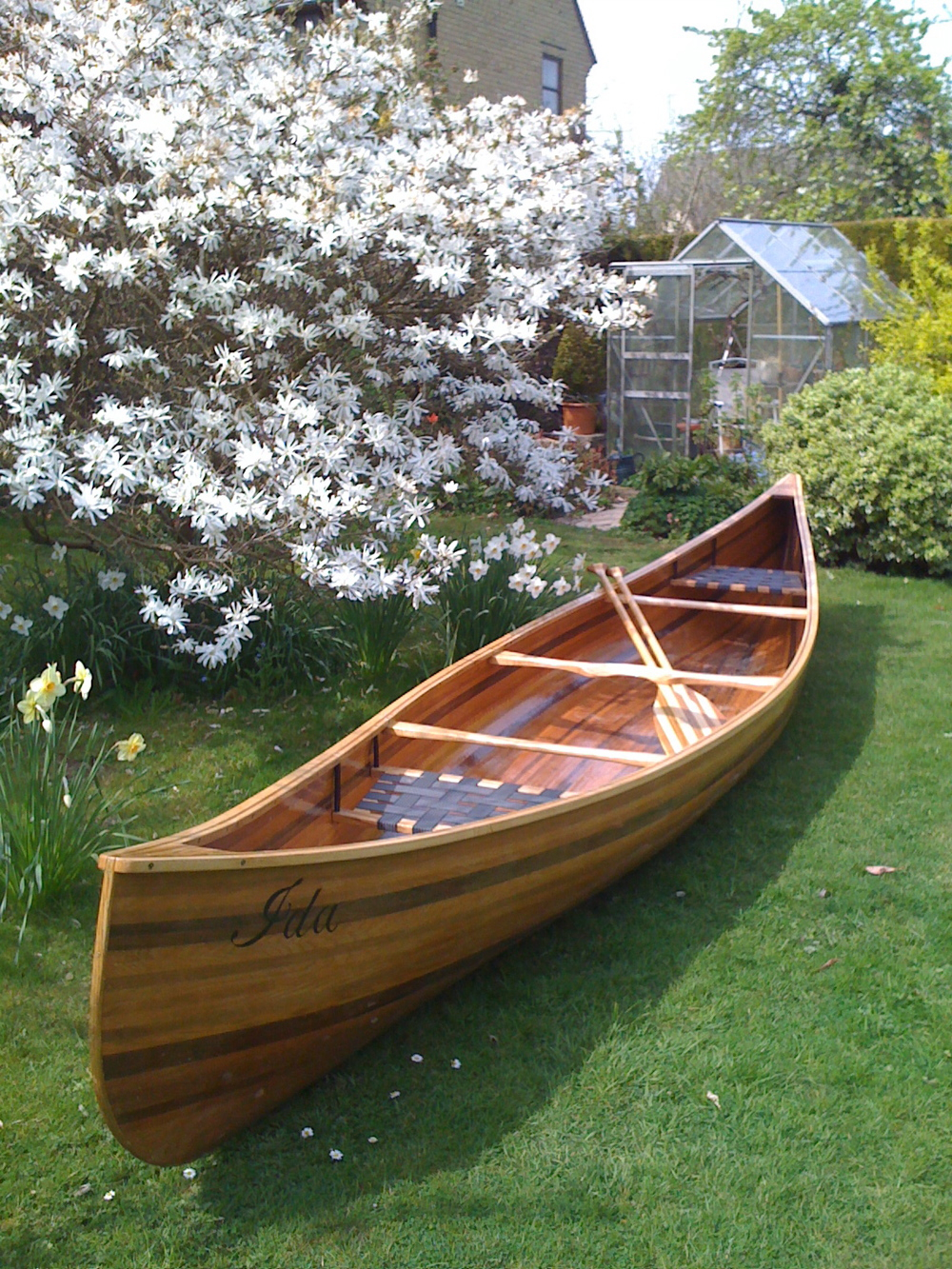 18ft cedar canoe built from an adapted 1920's design by E.M.White.