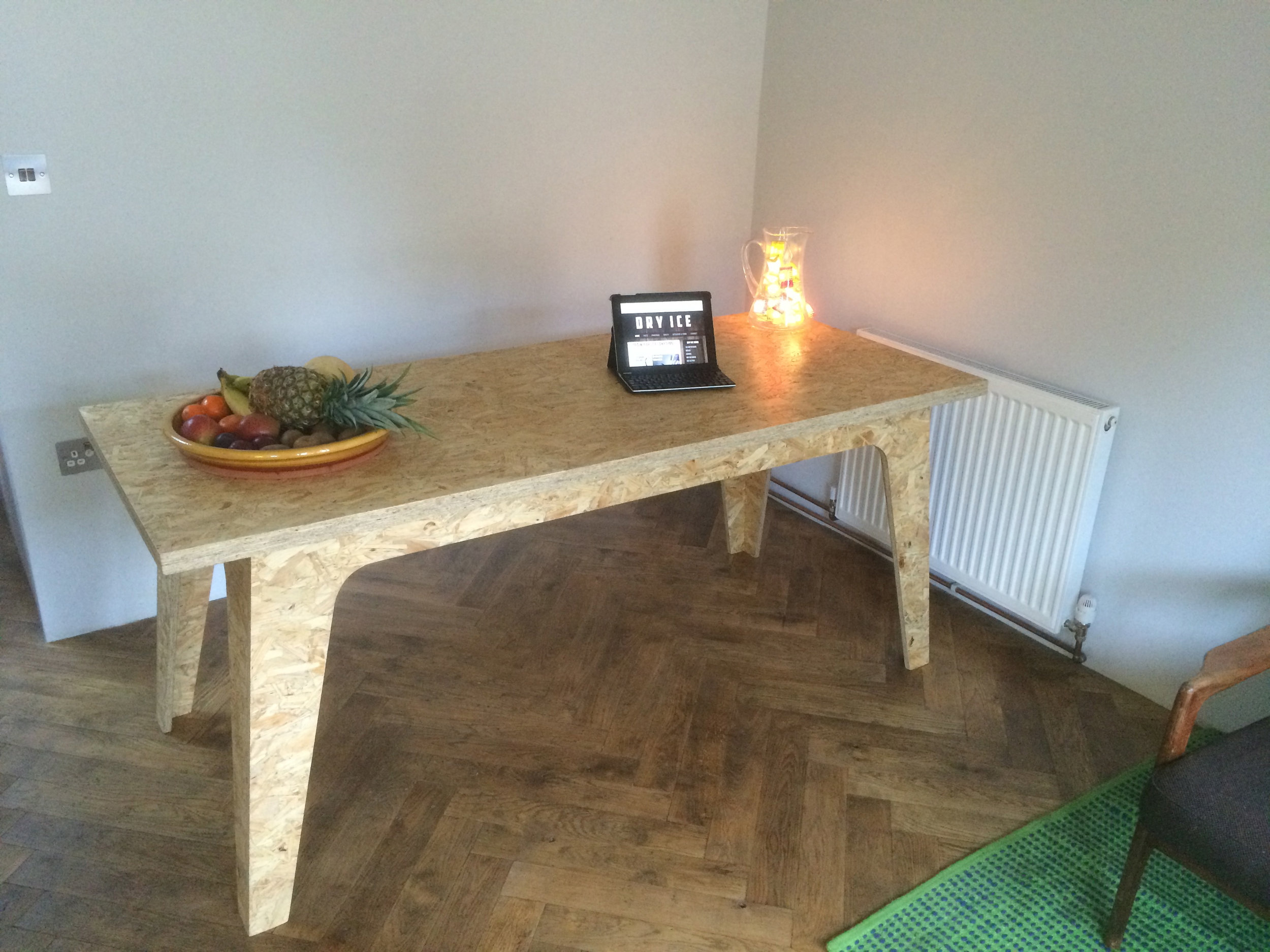 Oak parquet flooring.  Table also by GFW