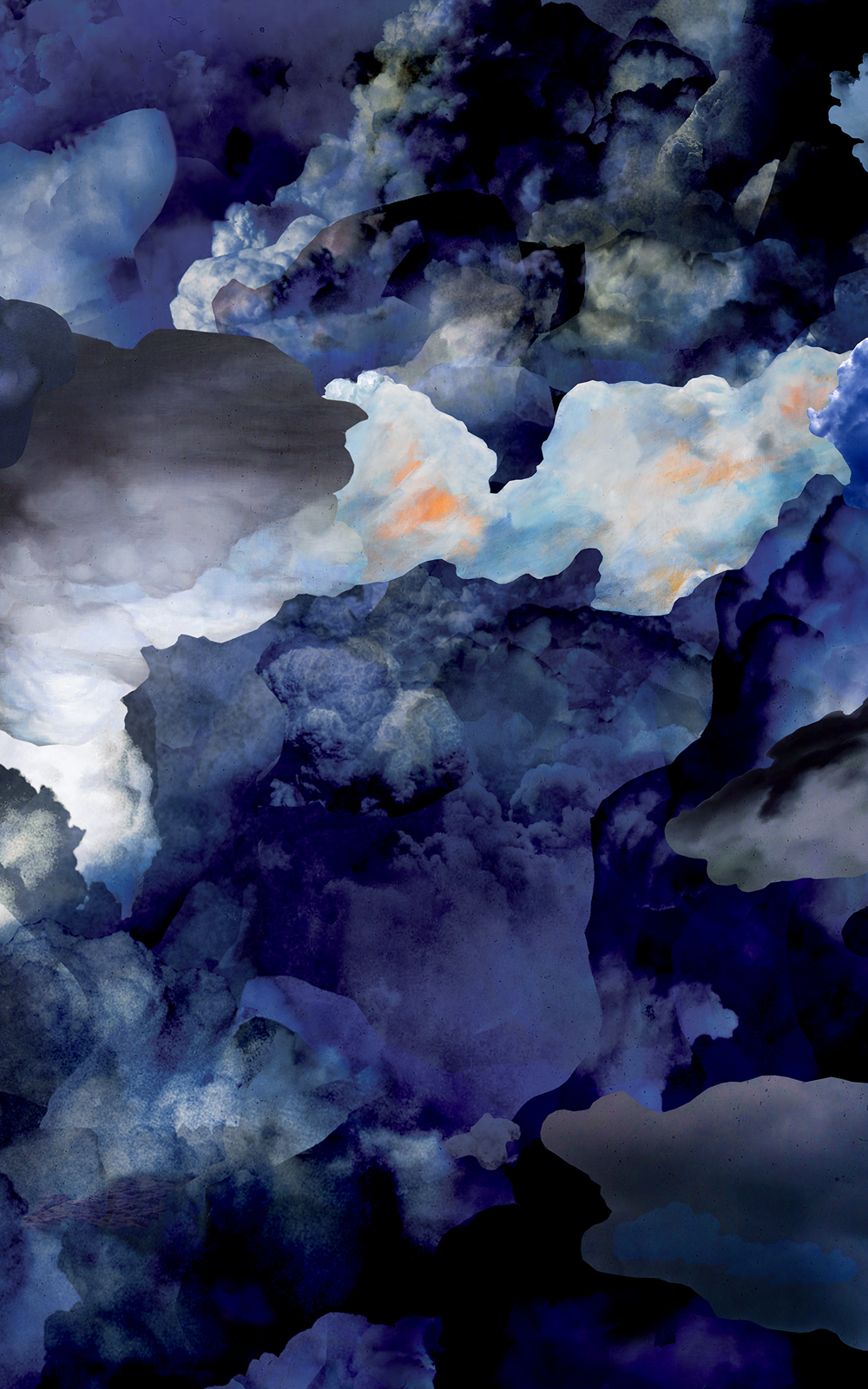 Case Simmons, Simmons & Burke, Clouds Wallpaper, Cloud Collage, Vinyl Wallpaper, Digital Collage,Digital Art, Photoshop Collage, Contemporary Collage,Case Simmons Art, Collage Fine Art, Fine Art Wallpaper, Abstract Digital Collage,Kohn Gallery, Bank of America Lobby