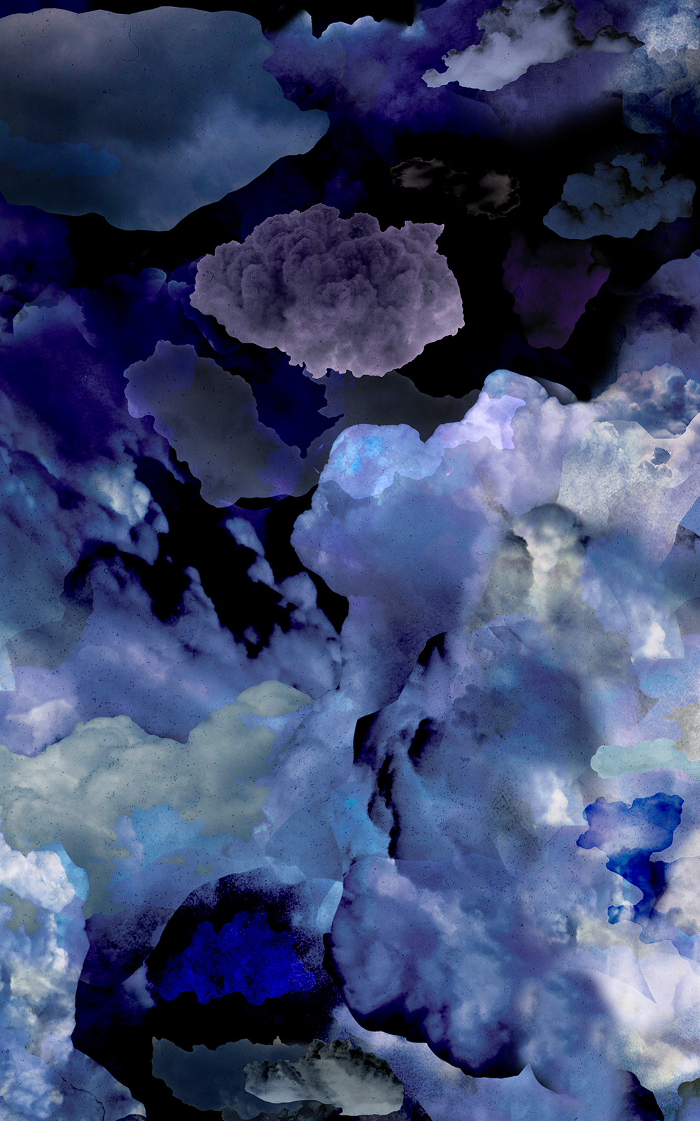 Case Simmons, Simmons & Burke, Clouds Wallpaper, Cloud Collage, Vinyl Wallpaper, Digital Collage, Digital Art, Photoshop Collage, Contemporary Collage, Case Simmons Art, Collage Fine Art, Fine Art Wallpaper, Abstract Digital Collage, Kohn Gallery, Bank of America Lobby