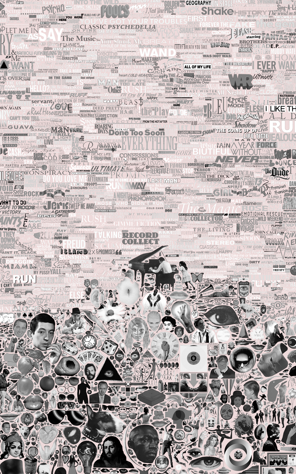 Case Simmons, Simmons & Burke, Album Collection Palette Black and White on Pink, Album Art, Record Cover Collection,C-Print, Digital Collage,Digital Art, Photoshop Collage, Contemporary Collage,Case Simmons Art, Collage Fine Art, Kohn Gallery, Collection Art, Archive Art