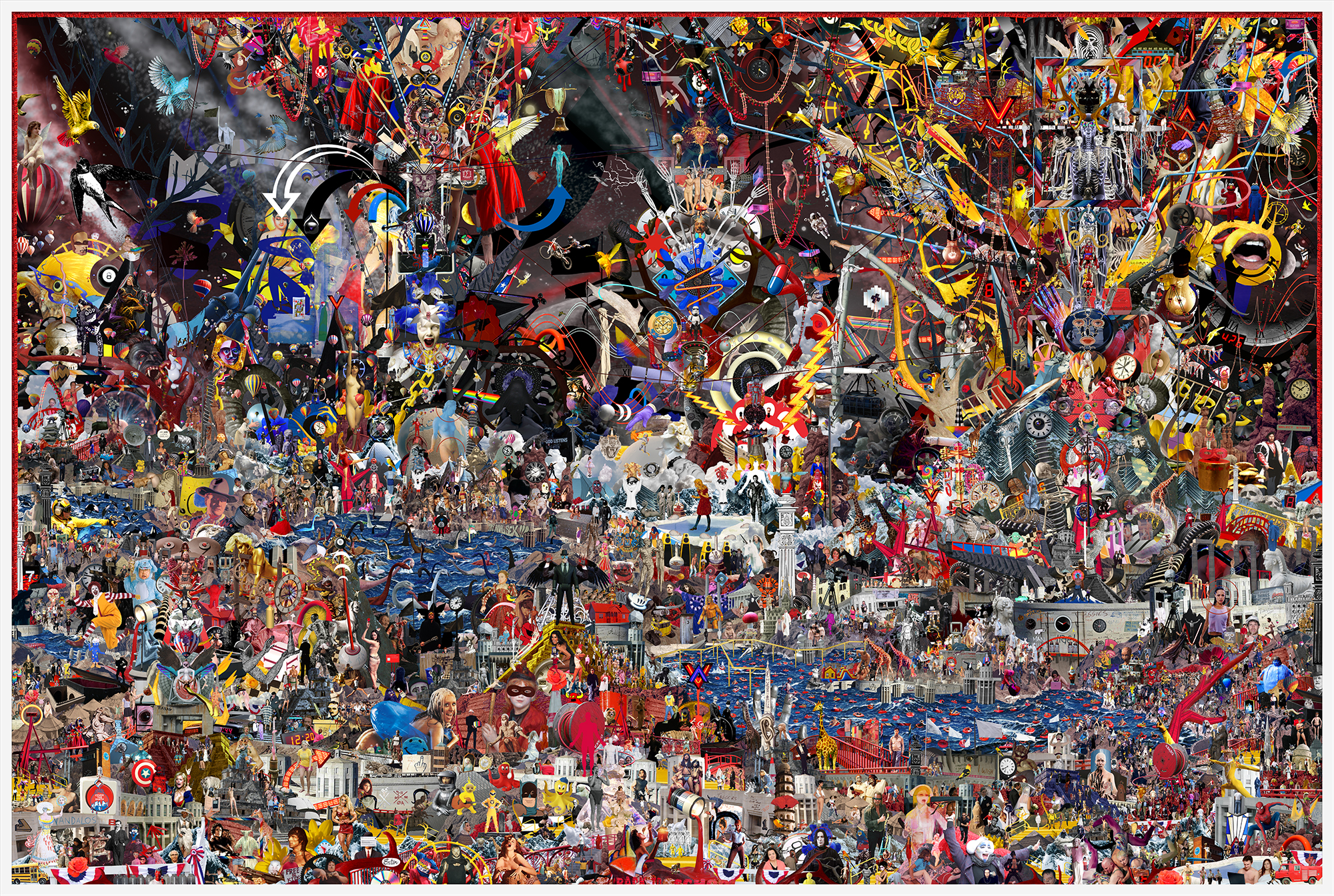 Case Simmons, Simmons & Burke, To Your Scattered Bodies Go #1, Kim Light Gallery, Hieronymus Bosch, Lightjet Print, Digital Collage,Digital Art, Photoshop Collage, Contemporary Collage,Case Simmons Art, Case Simmons Artist, Collage Fine Art, Lightbox Gallery