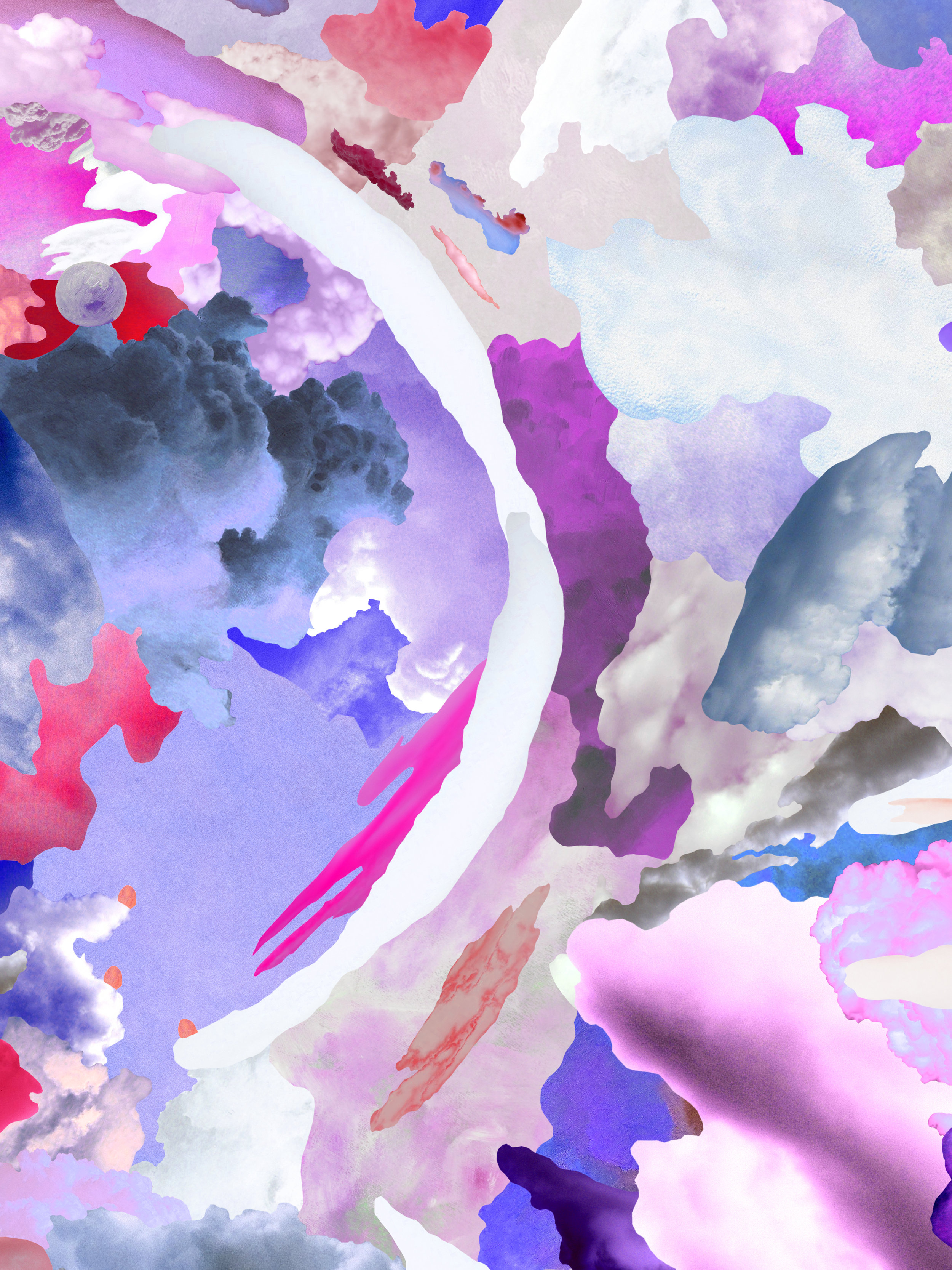 Case Simmons, Clouds X, Pigment Print, Digital Collage, Digital Art, Photoshop Collage, Contemporary Collage, M+B Gallery, Los Angeles, Art, Fine Art