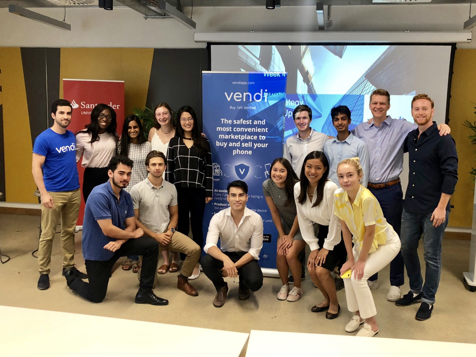 Summer 2019 Beacon Fellows at the Vendi client site in London.