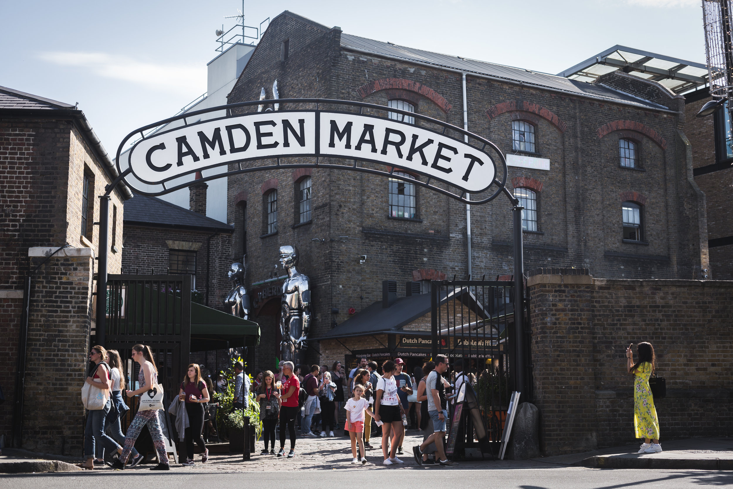 Camden market was just a short walk from Fellows' lodging this past summer and was a popular late-night food option, July 2019.