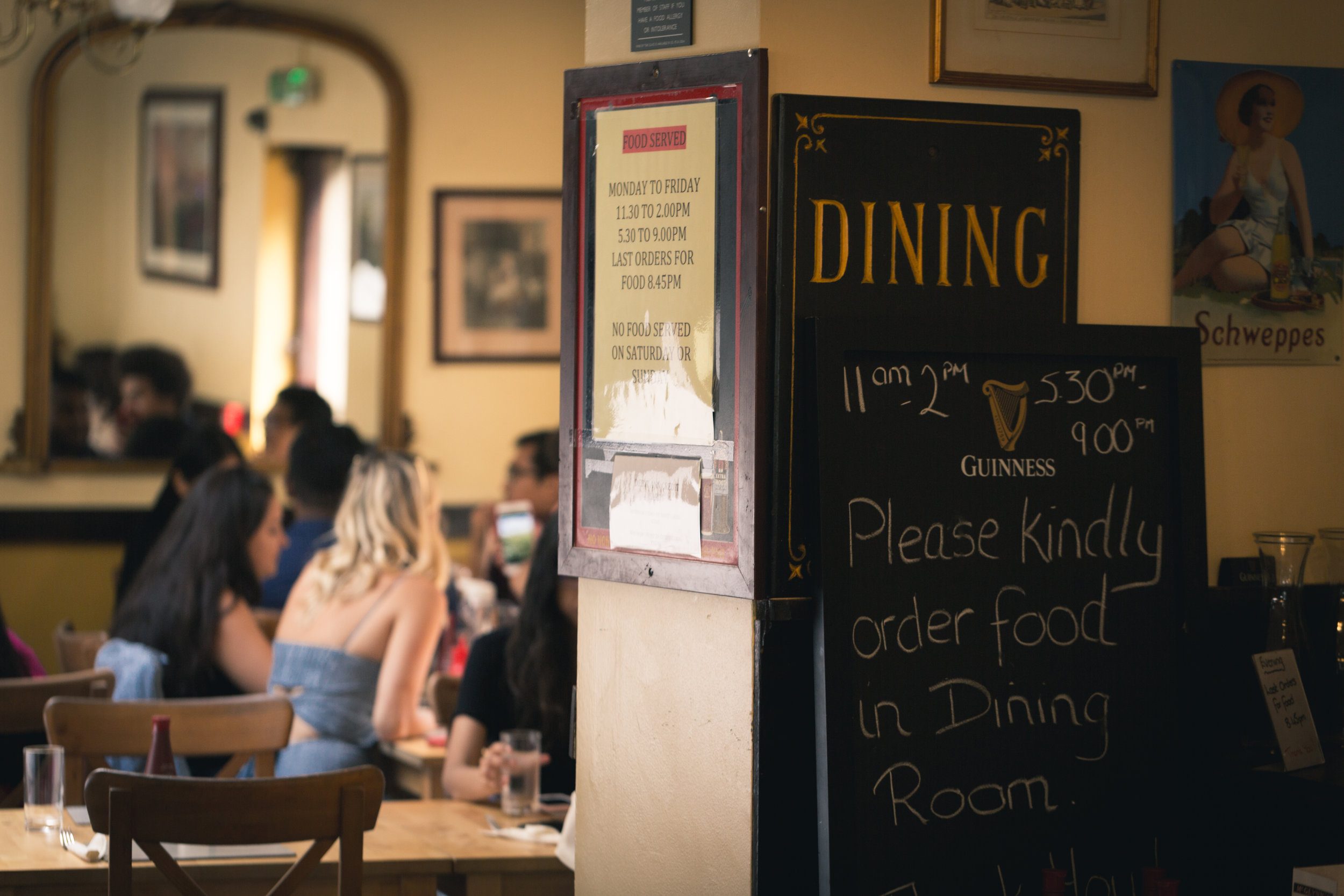London pubs are a sure option for good food and a warm atmosphere, July 2019.