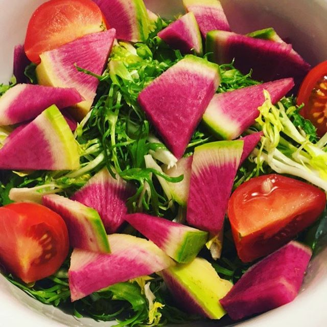 Getting grounded for the full moon 🌙 with this 🍉 watermelon radish salad. #naturalfood #vegan #plantbased #italfood