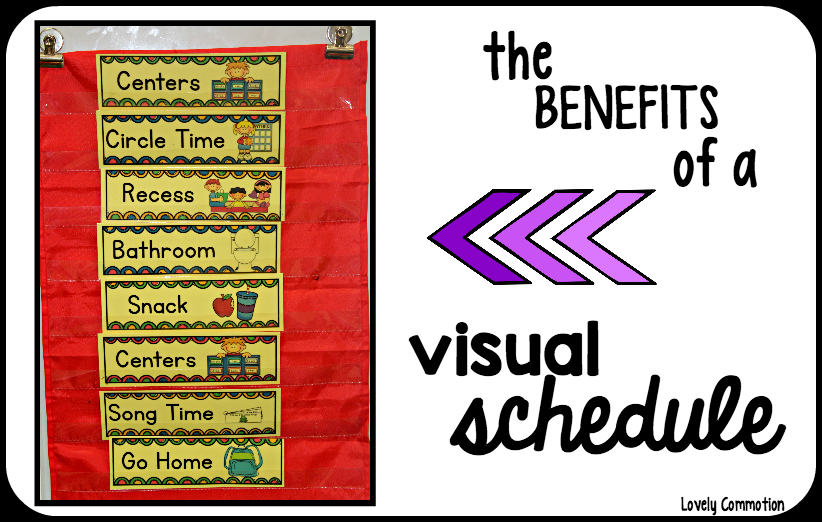 The benefits of displaying a visual schedule in the preschool classroom.