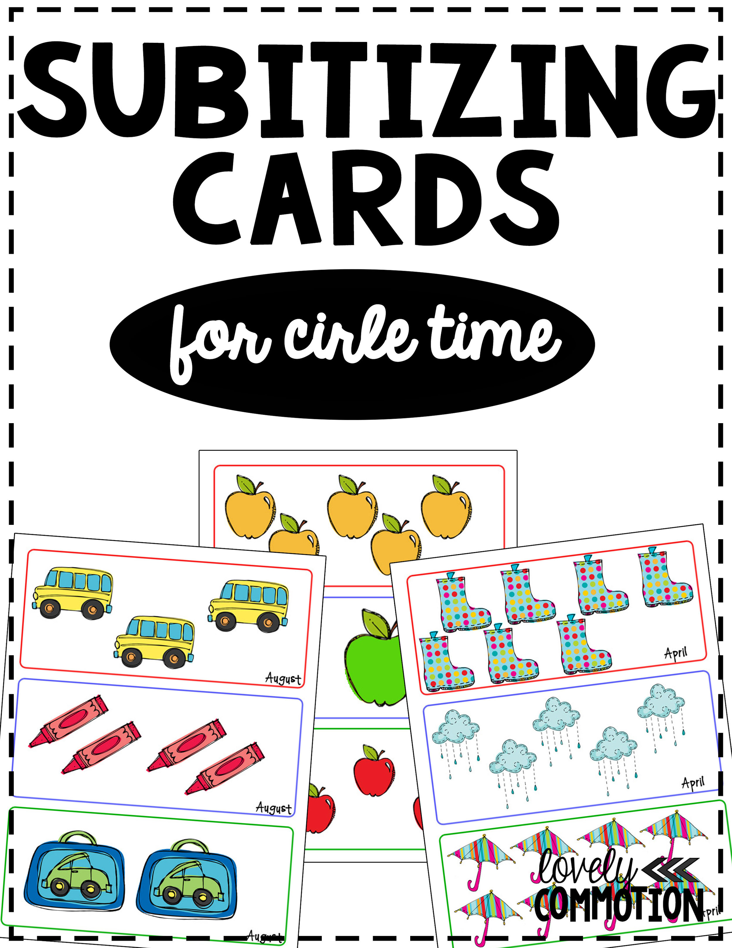 Free subitizing cards for preschool circle time.