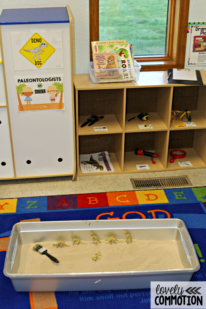 Create a dino dig pretend play center for your preschoolers!