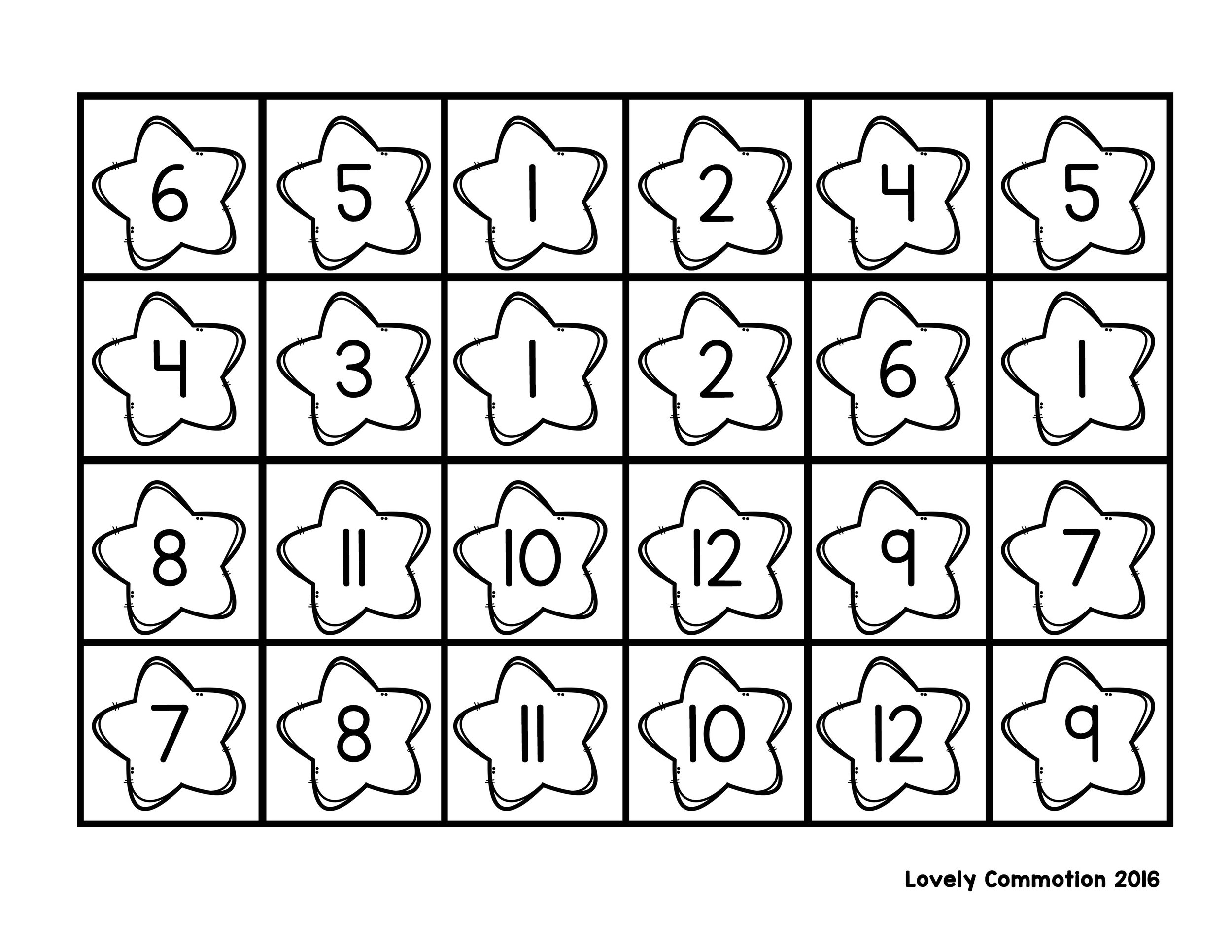Free roll and stamp board for learning numerals.