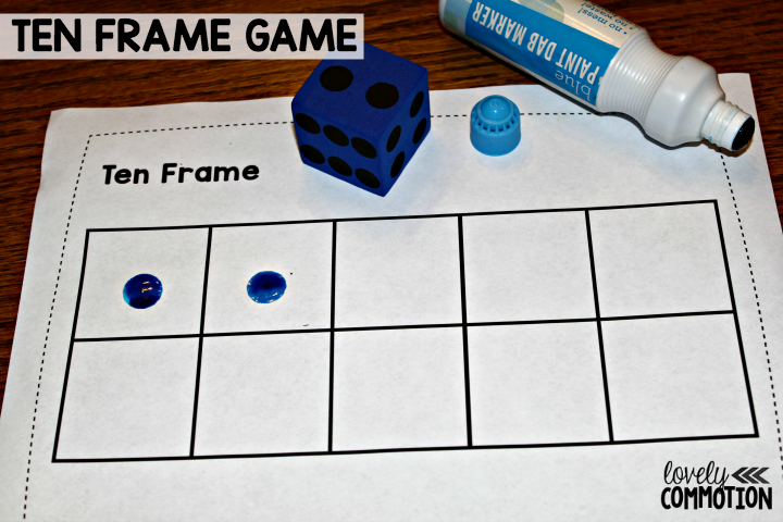 Ten frame game for the early childhood classroom.