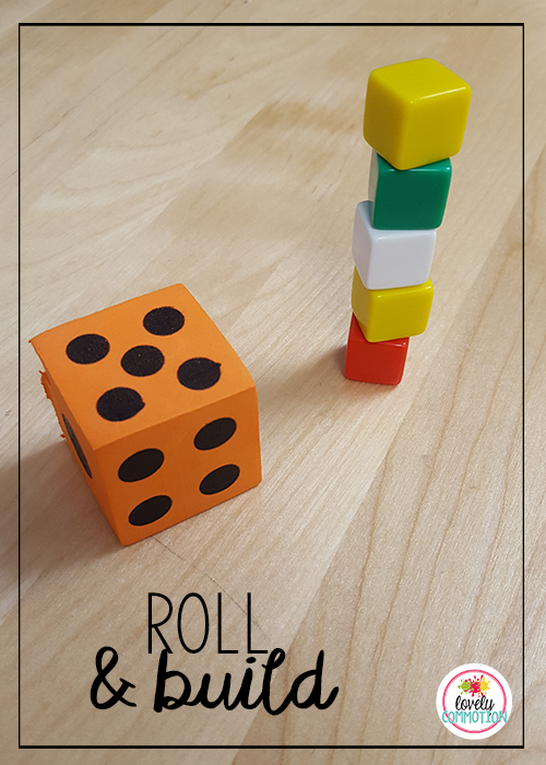 Play roll and build subitizing and counting game together and see who can make the tallest tower.