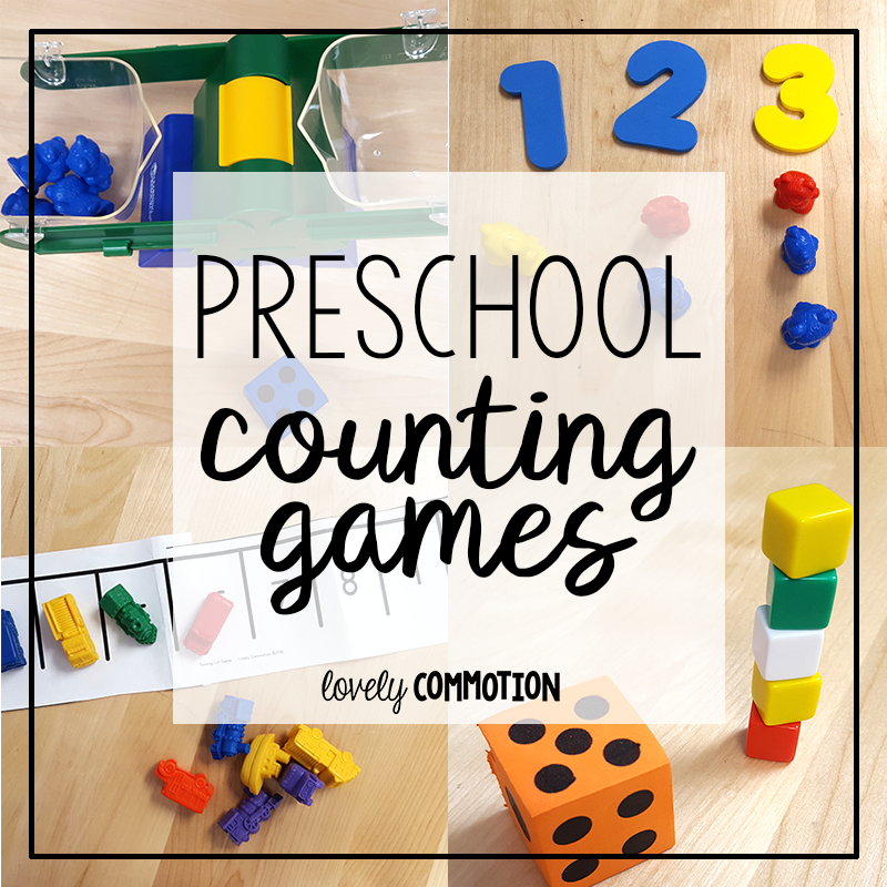 The best way to help a child learn to rote count and count with 1-1 correspondence is to play games! Here are some preschool counting games.