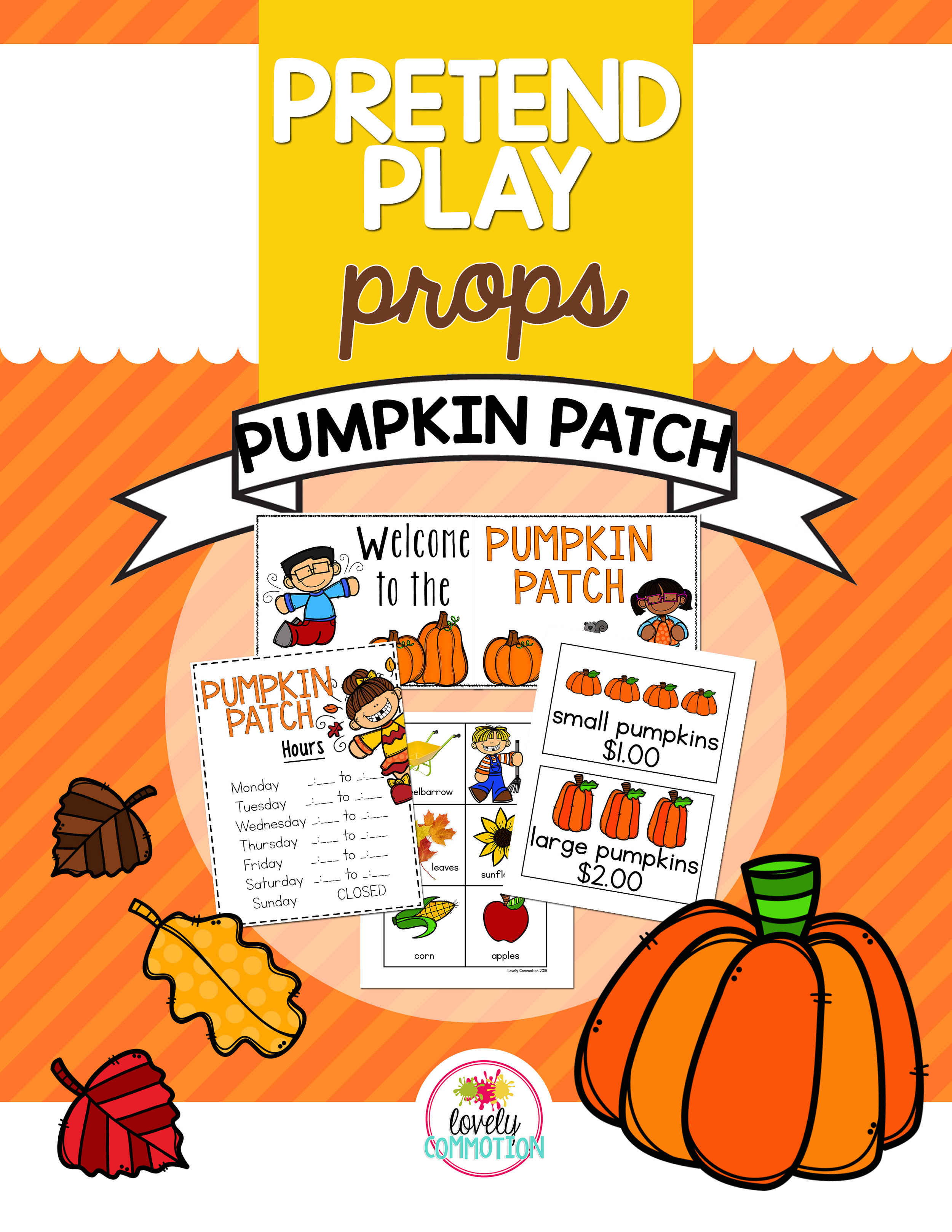 Pretend Play Pumpkin Patch is perfect for your preschool drama center. Encourage writing, gross motor and social skills easily with this pack!