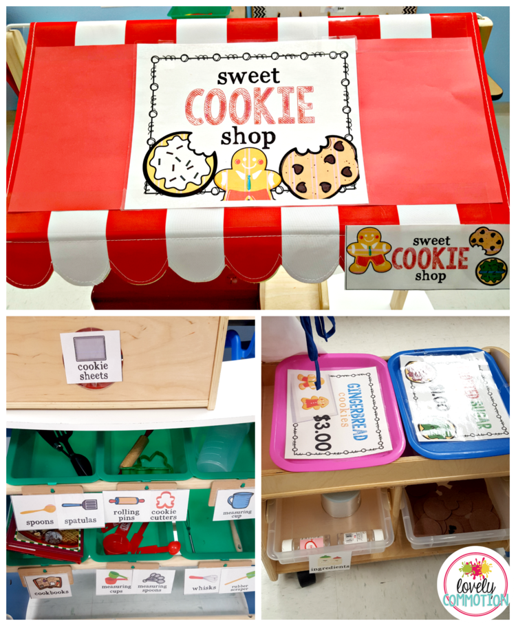 Get your preschoolers pretend baking with this fun Cookie Shop for the Dramatic Play Center!