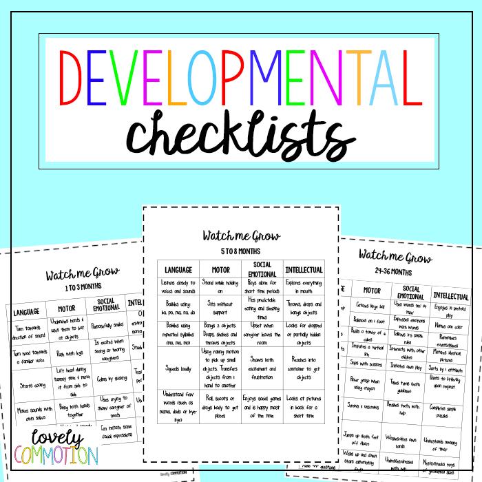 Early Childhood Developmental Checklists for parents, preschool teachers and caregivers.