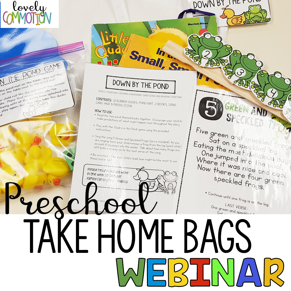 Preschool Take Home Bags Webinar Replay - Come learn...The importance of a strong home and school connectionSeeing yourself as an educator to parents, as well as childrenWhat and Take Home Bag is and the goal of bagsExamples of some Take Home Bags and how to organize themFREE Fine Motor Tub Take Home printables