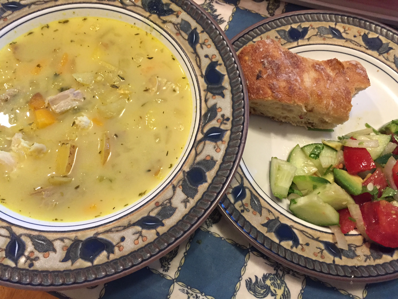 Curried Pork and Potato Soup and a summer chopped salad