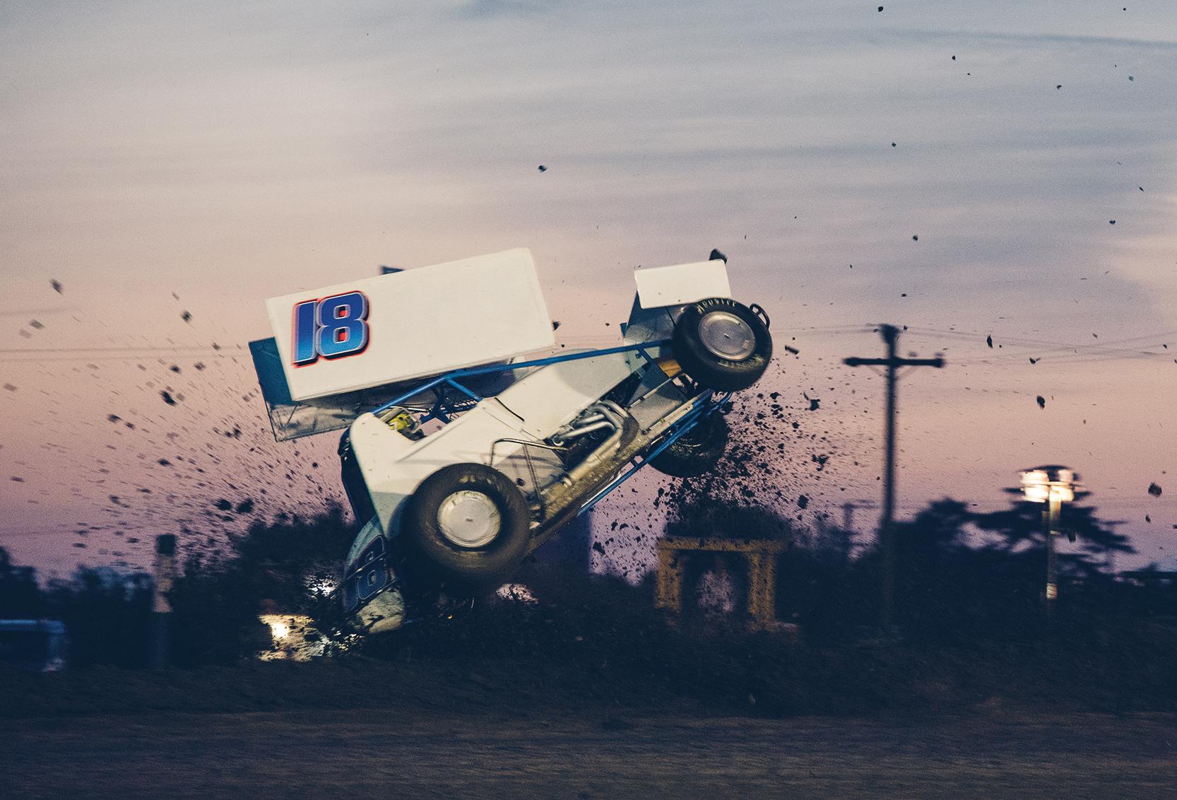 Justin Sanders loses control of his 360 sprint at Stockton.