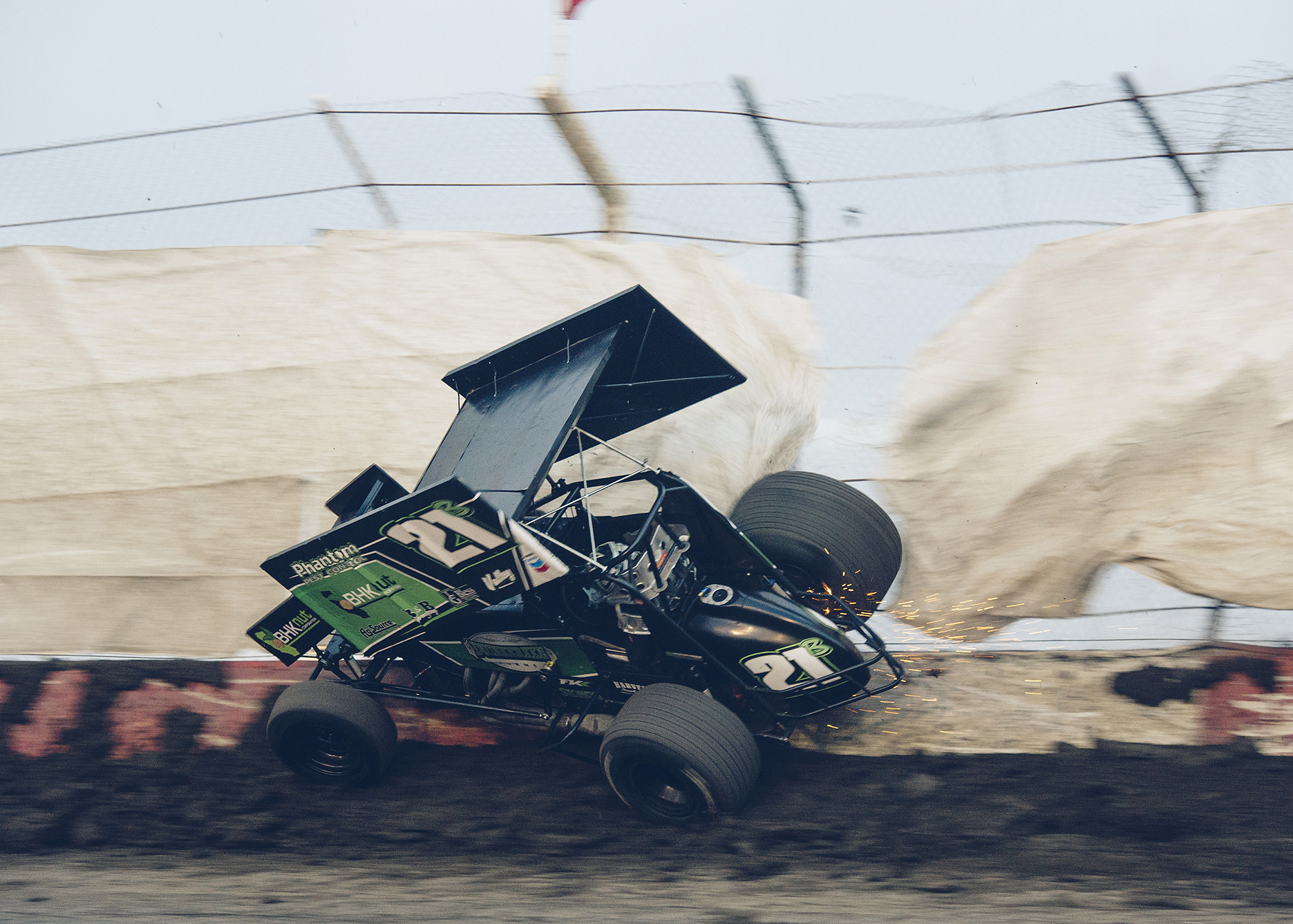 Sprint racer Dylan Black finds the ragged edge at Tulare.