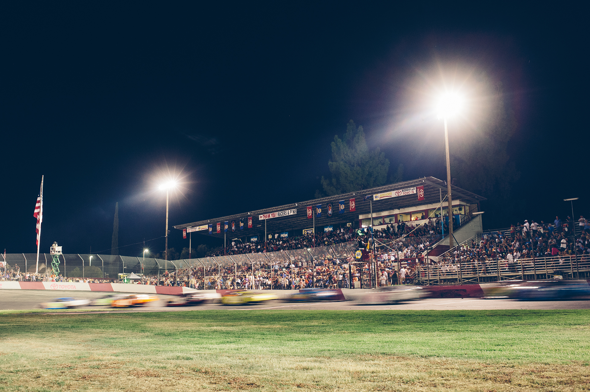 All American Speedway draws a capacity crowd for its NASCAR Pro Series West event.