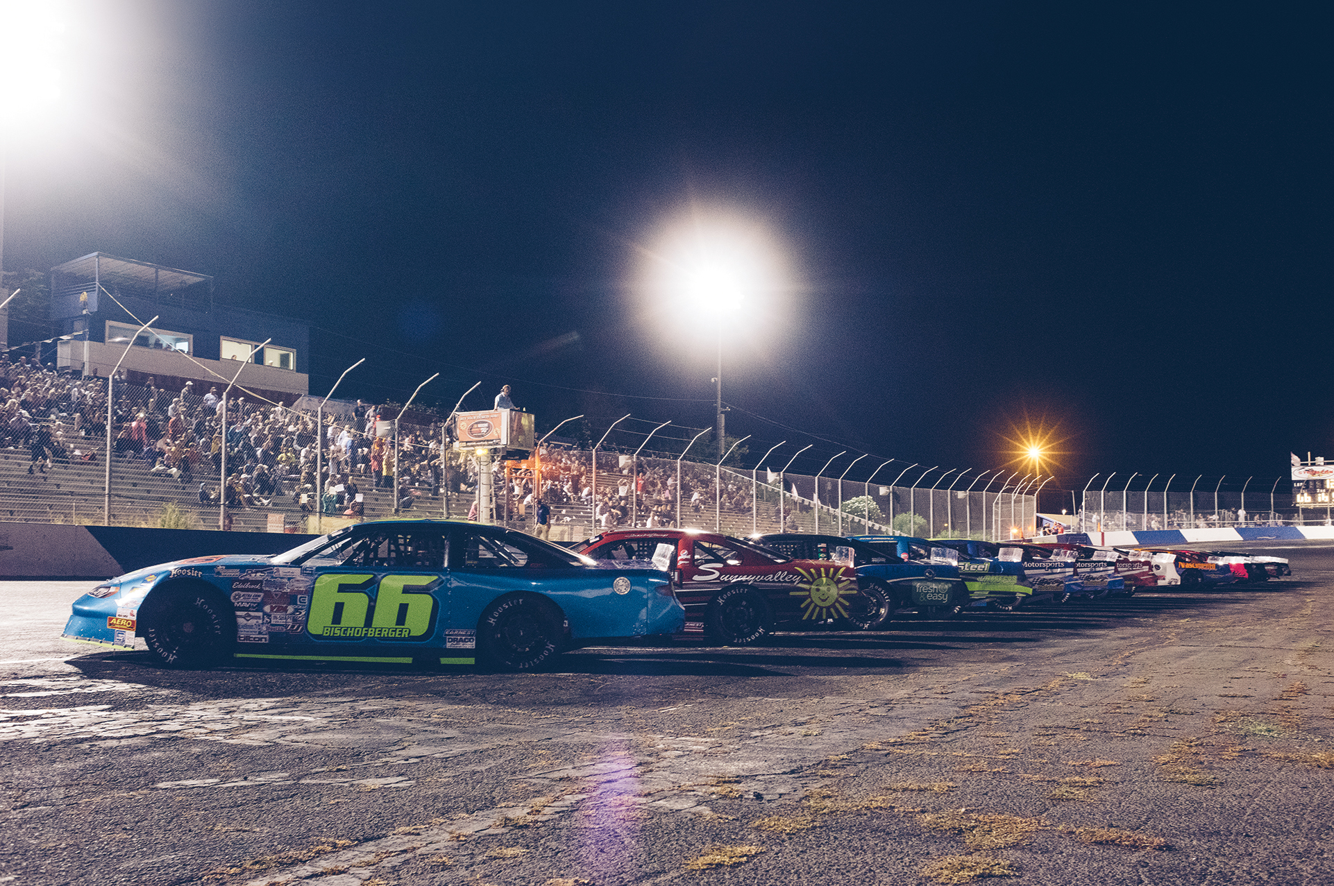 Southwest Tour late models in staging for the main event at Stockton 99.