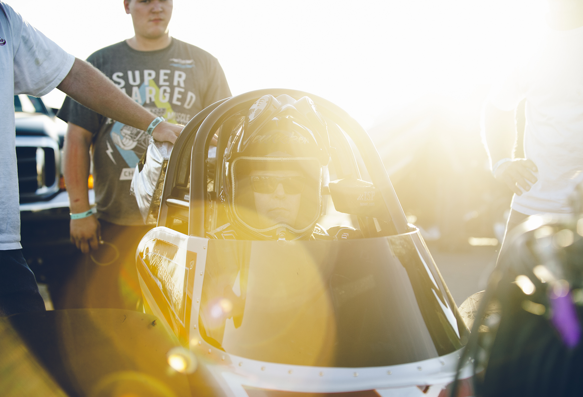 Mike Buersken of Redding, gets ready for a test run in his Pro Dragster.