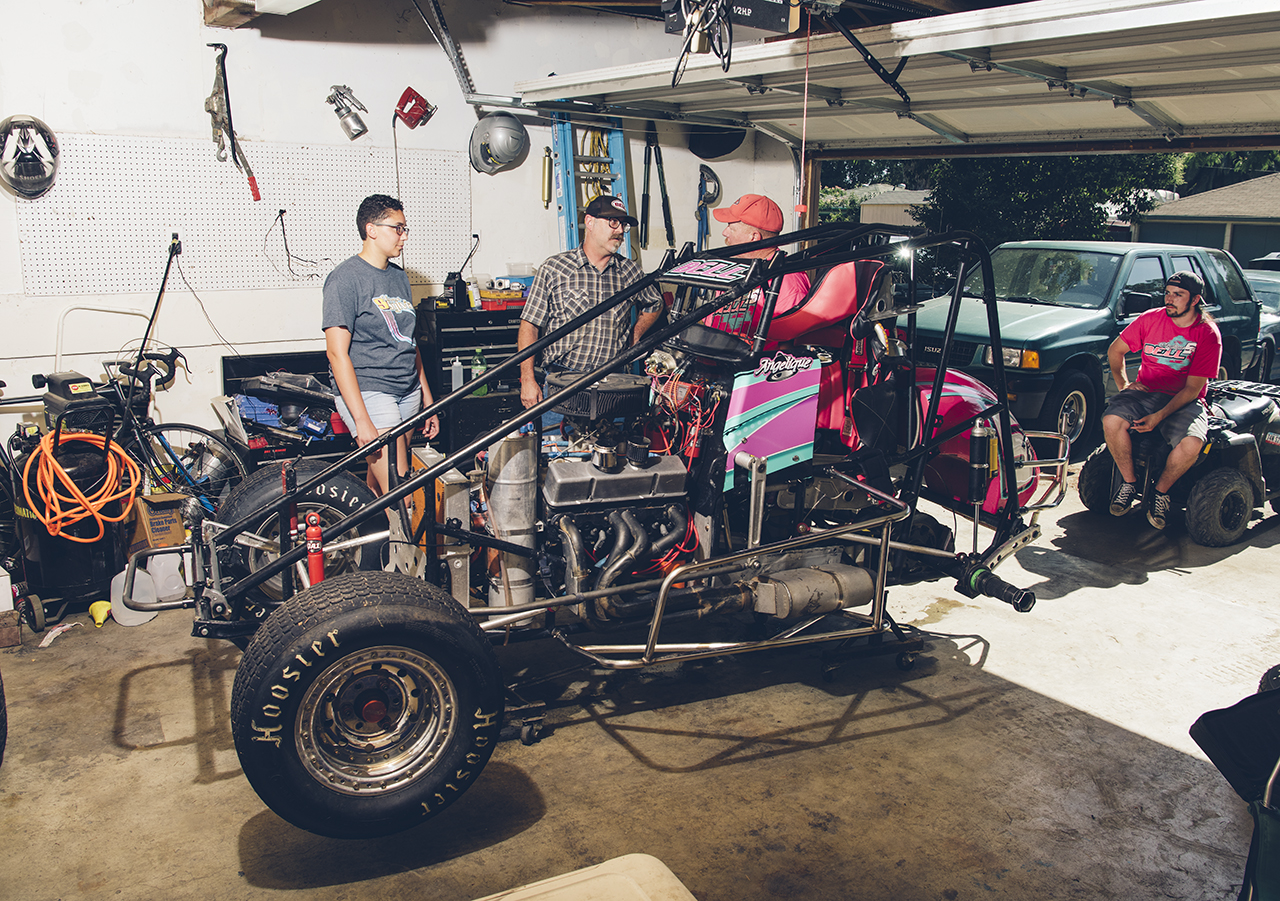 Racing on a shoestring, the Bell family's sprint car at home.