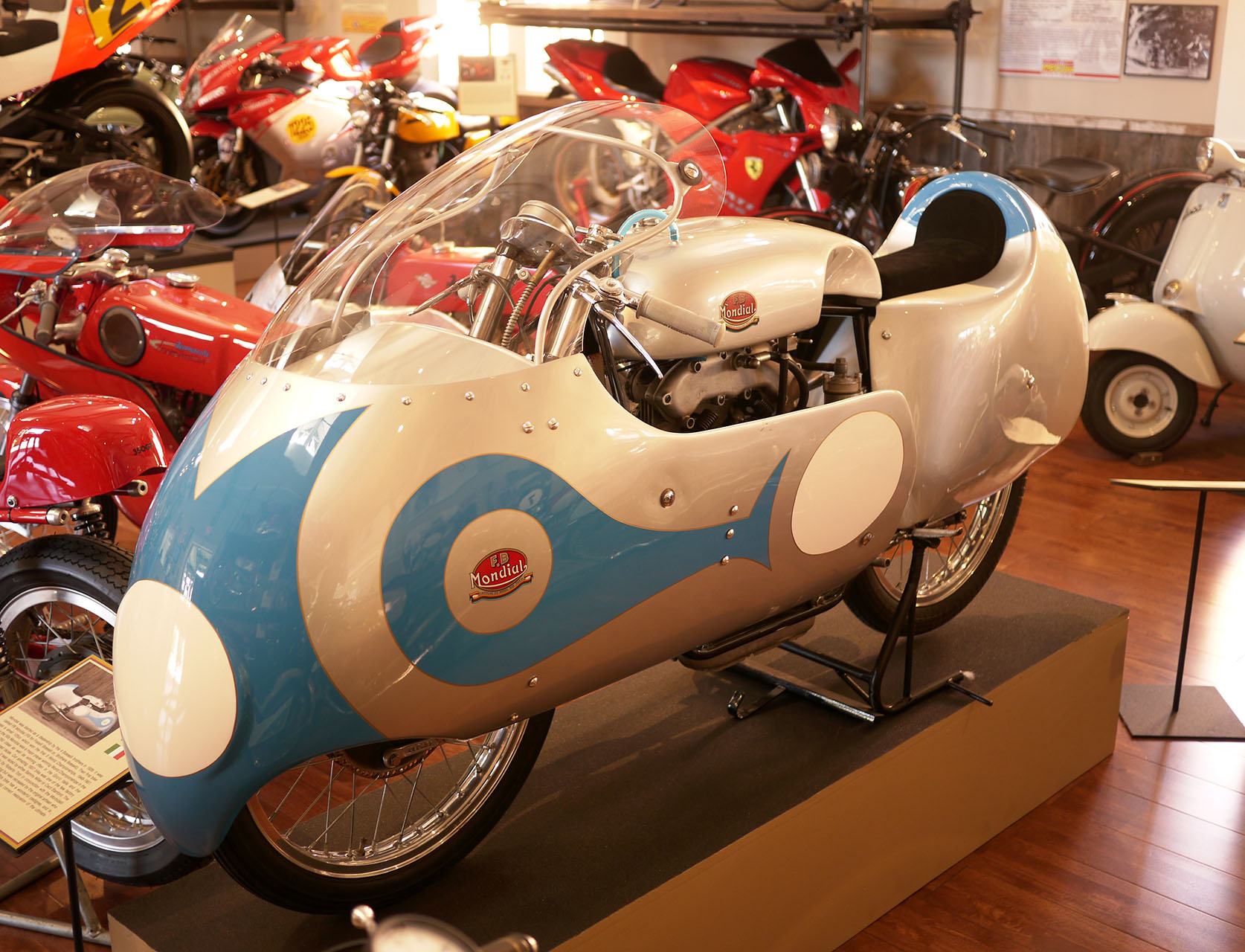 World championship winning 1957 FB Mondial. Star of the main room at Moto Talbott and one of the rarest bikes in the world