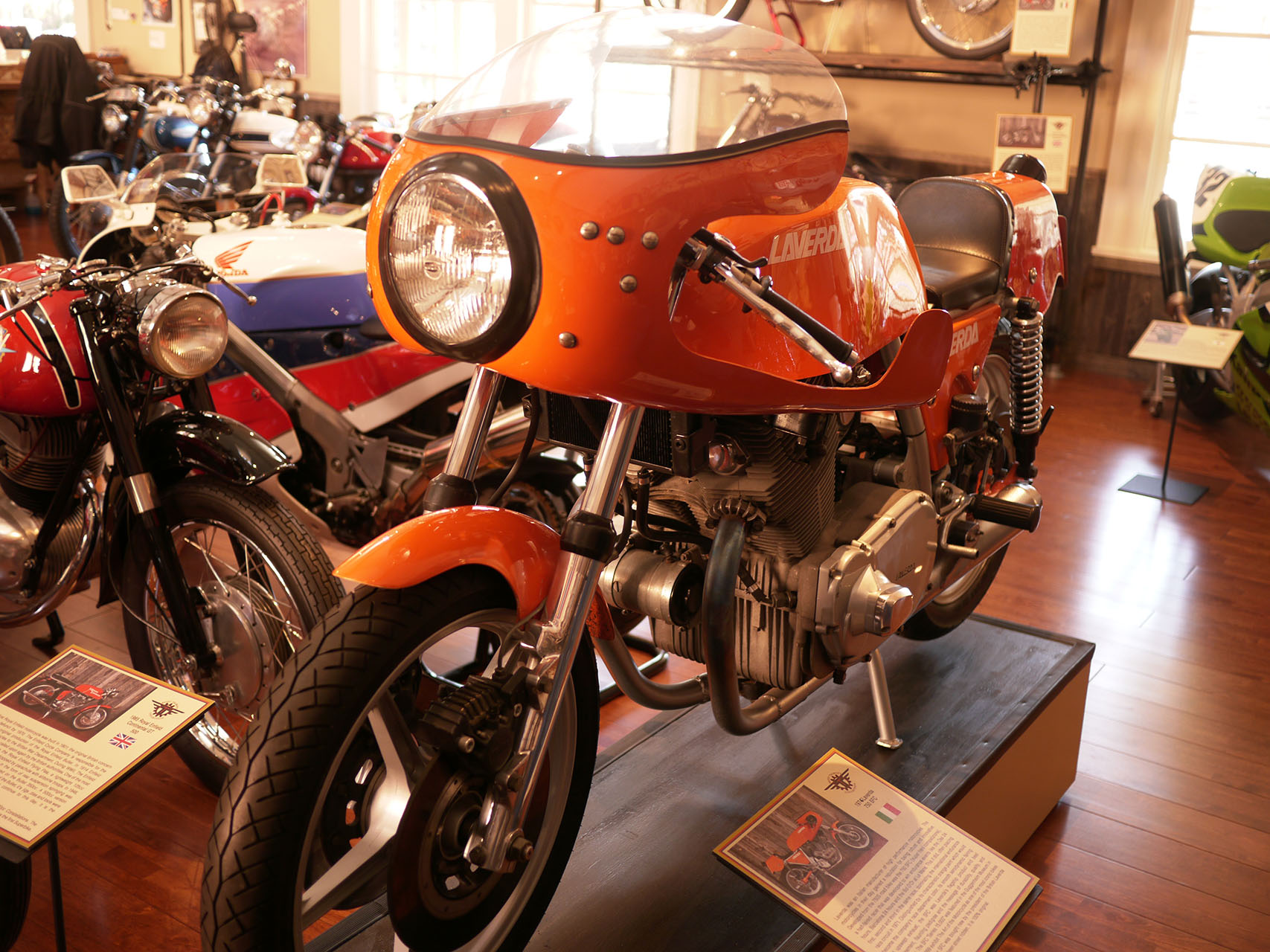 Laverda! Laverda!aaah Laverda! The grand Italian hot rod. More exclusive than Ducati or even MV. In this case an SFC 750 twin built specifically for Rob Talbott and personally delivered by Signor Laverda,the only person ever to ride it.