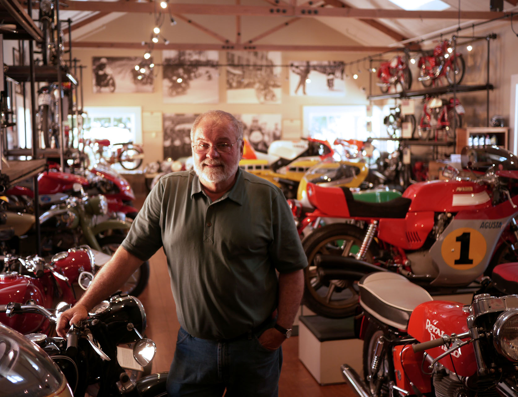 Richard Watson, docent and font of amazing stories. Let him be your guide to a wonderful world of motorcycles.