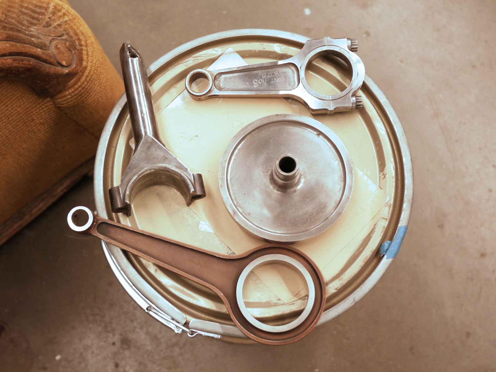 Bugatti, Miller and Weslake connecting rods from Long's collection of rare metal.