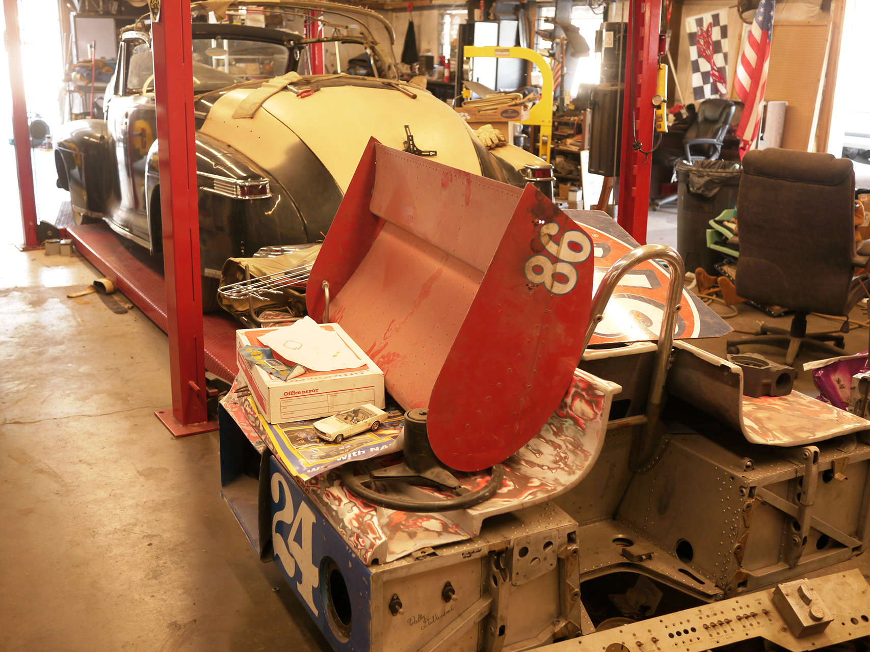 Gurney Eagle tub awaiting restoration by Long and his shop class.
