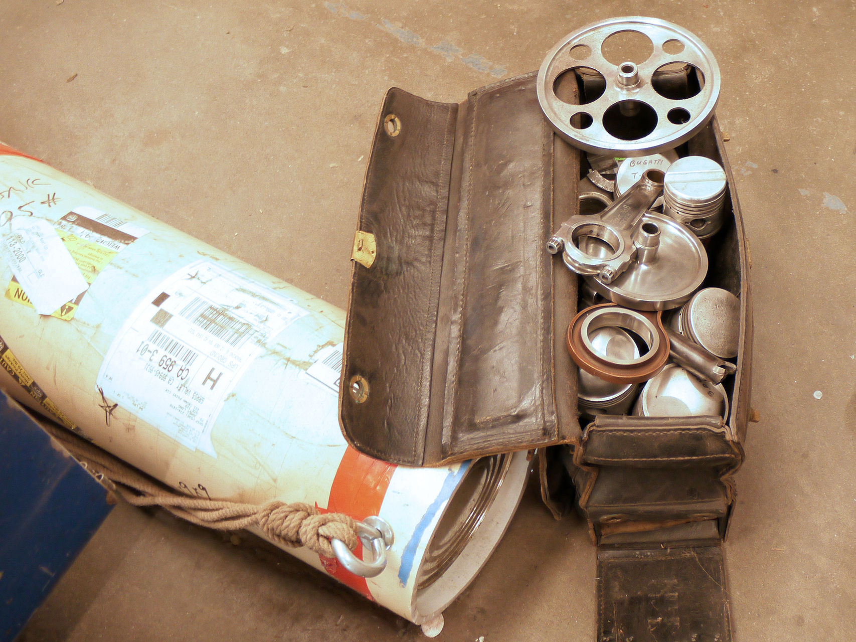 """""""The Bag"""" Long's teaching aid of rare mechanical engine parts."""