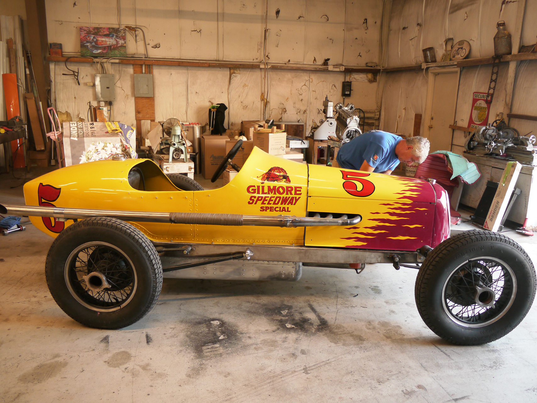 James Long fettles the replica Gilmore Speedway Special.