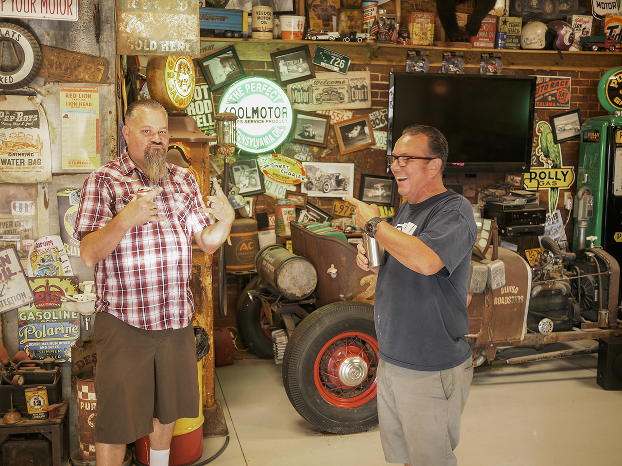 Hunter and Dean yucking it up in Jerry's shop. An amazing collection of automoblia.
