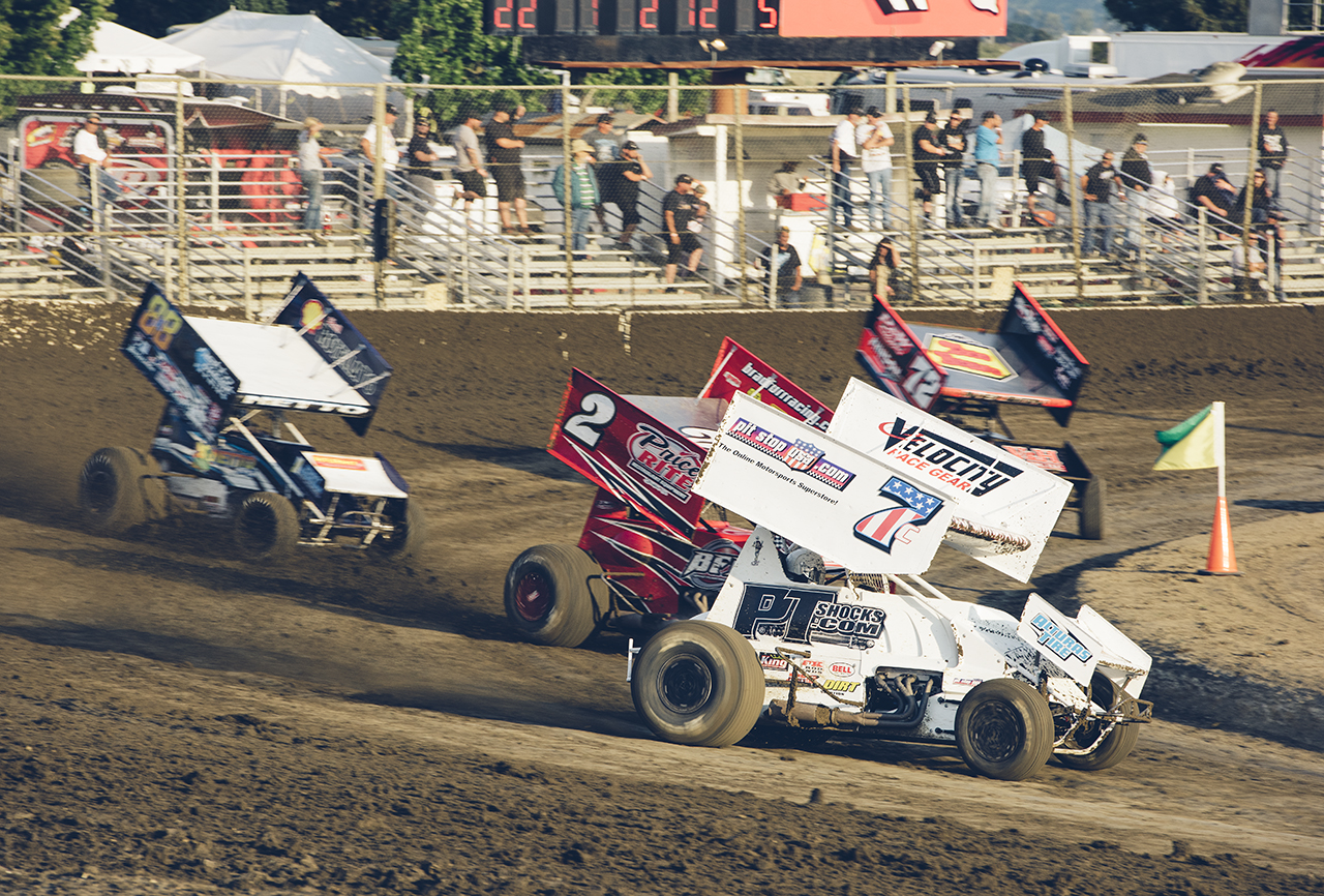 Forsberg (7c) leads a pack of winged sprints during a heat race at Ocean Speedway in Watsonville, 2016.