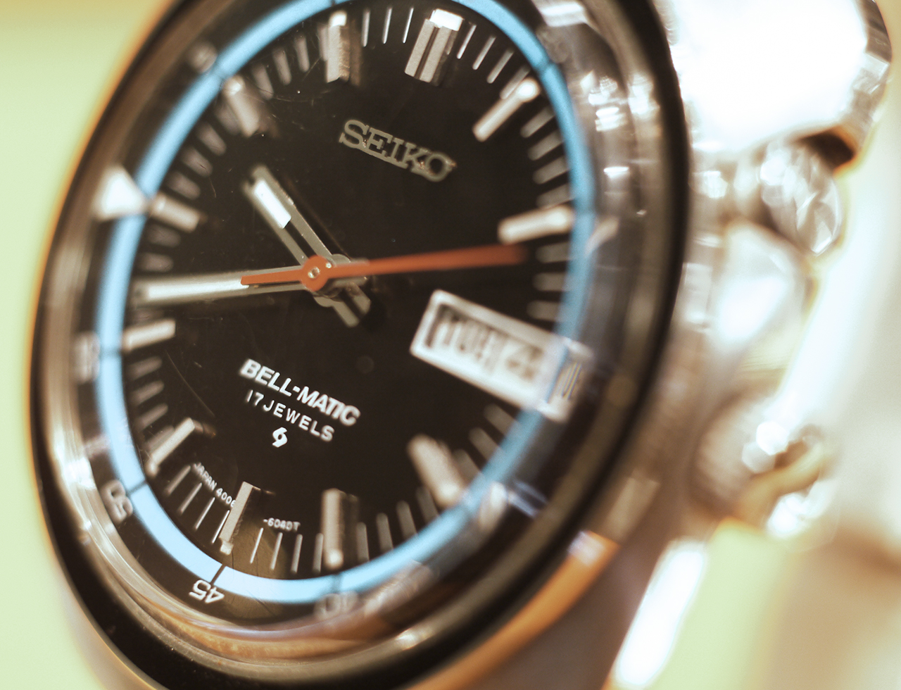 The Seiko Bell Matic 4006-6040T automatic alarm watch with day/date complication.