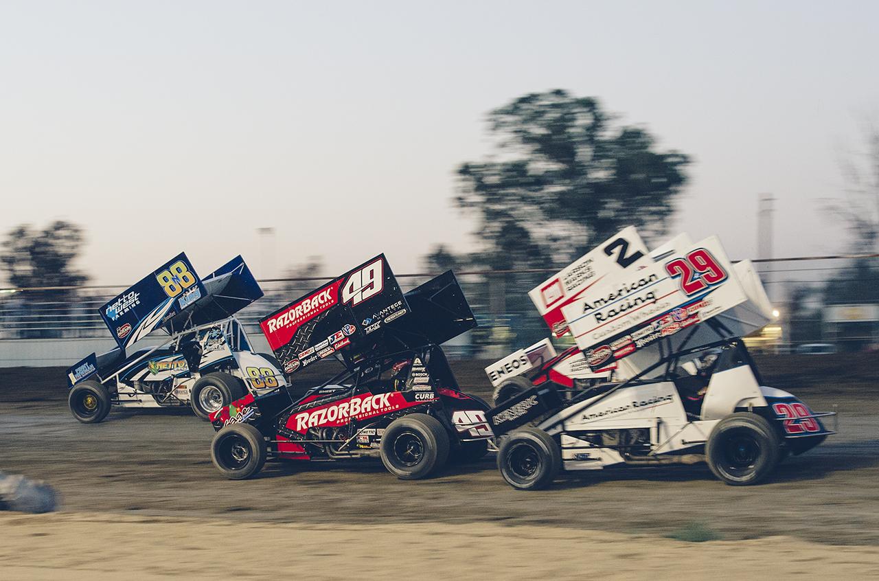 Heat race restart at Kings Speedway, Hanford, CA.