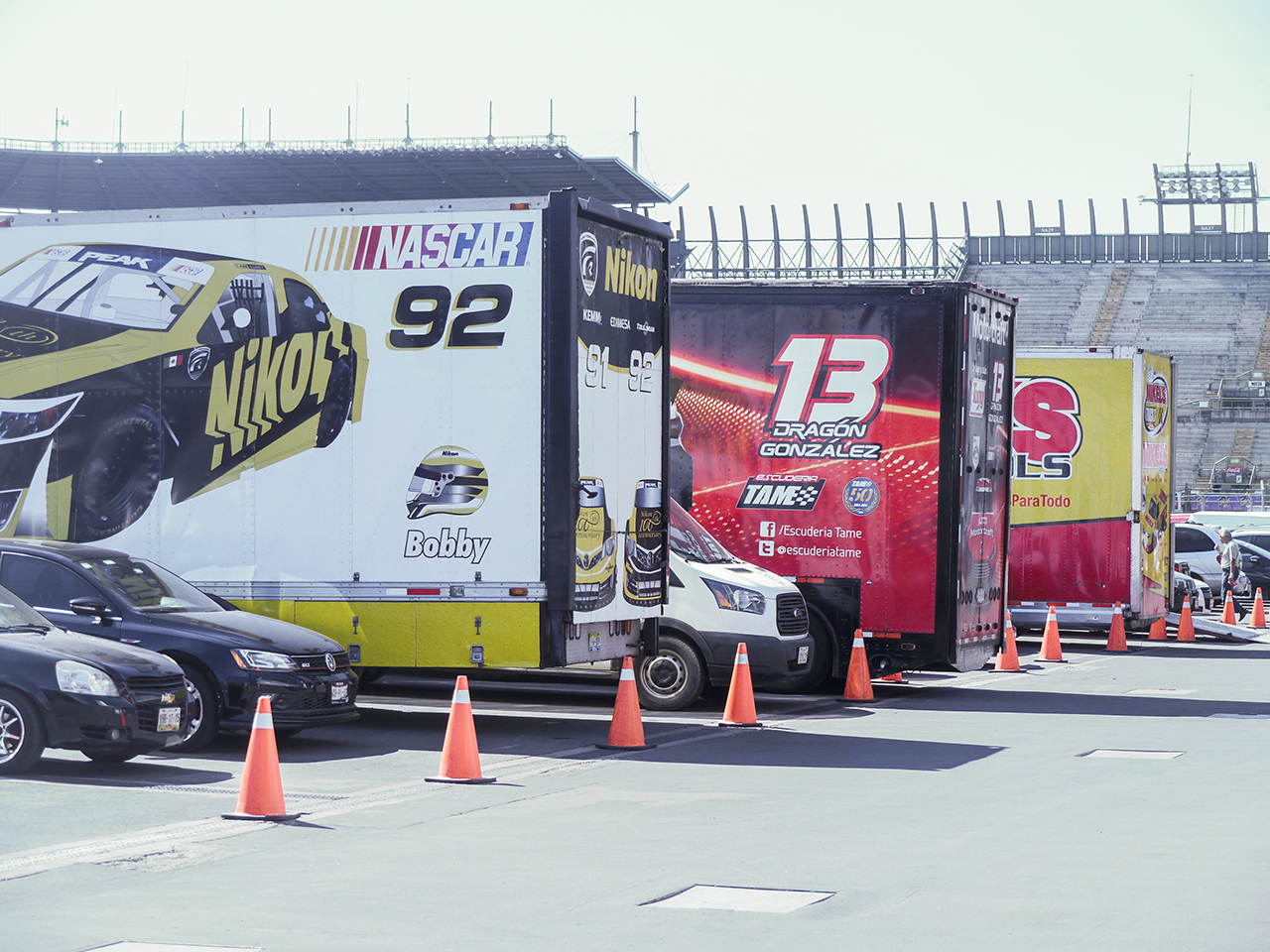 NASCAR Peak Mexico team trailers in the paddock. The NASCAR teams also race touring cars.