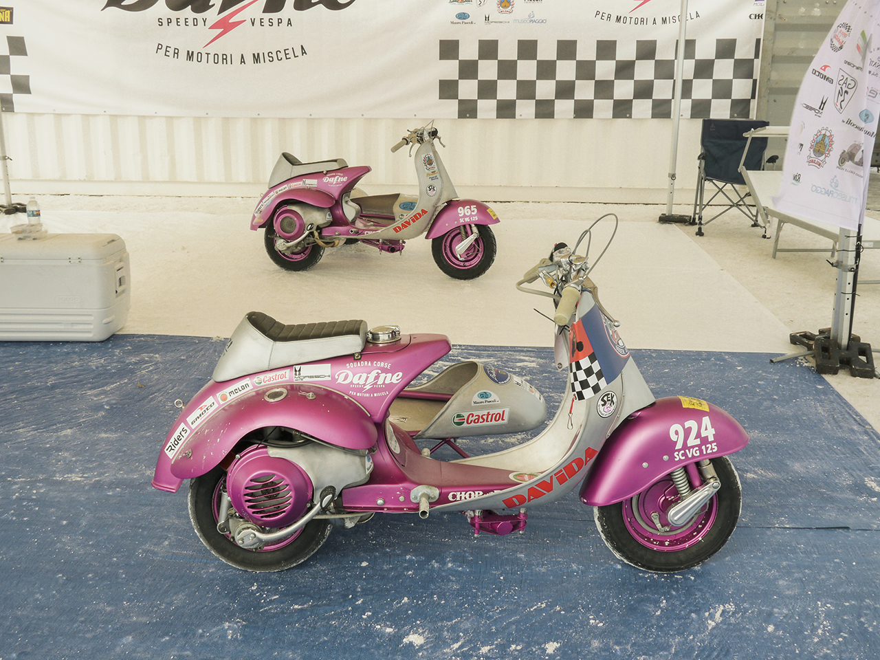 Team Dafne brought the first Vespas to be raced at Bonneville all the way from Italy. The alloy bodywork is just amazing.
