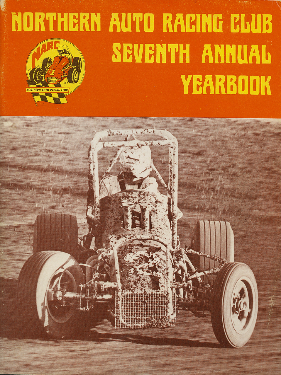 On the cover of the 1975 NARC yearbook, champion Van Conett in the first turn at Calistoga, driving Ted Hunting's sprint car.