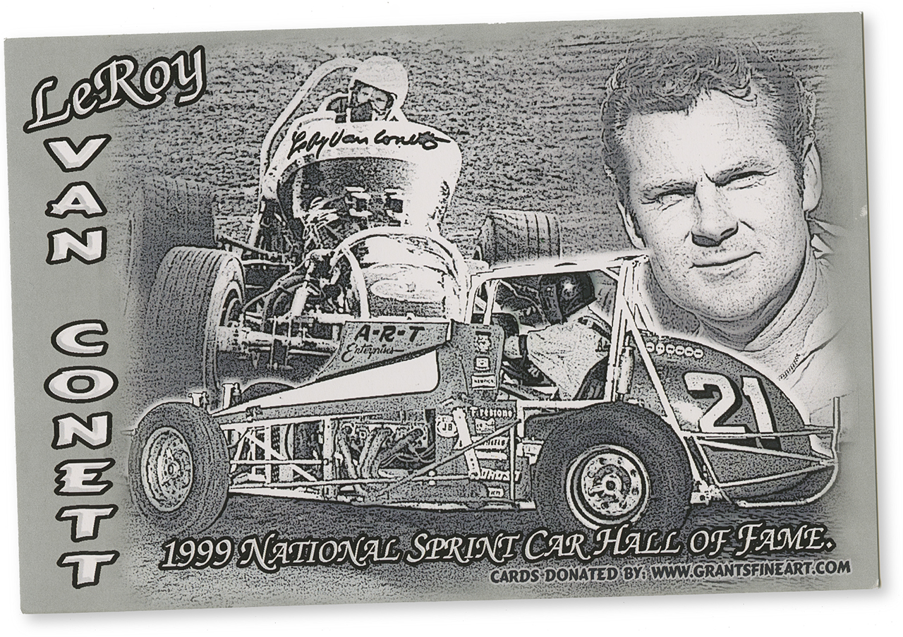 "Van Conett's commemorative ""hero card"" for his induction to the National Sprint Car Hall of Fame in Knoxville, Iowa, 1999."