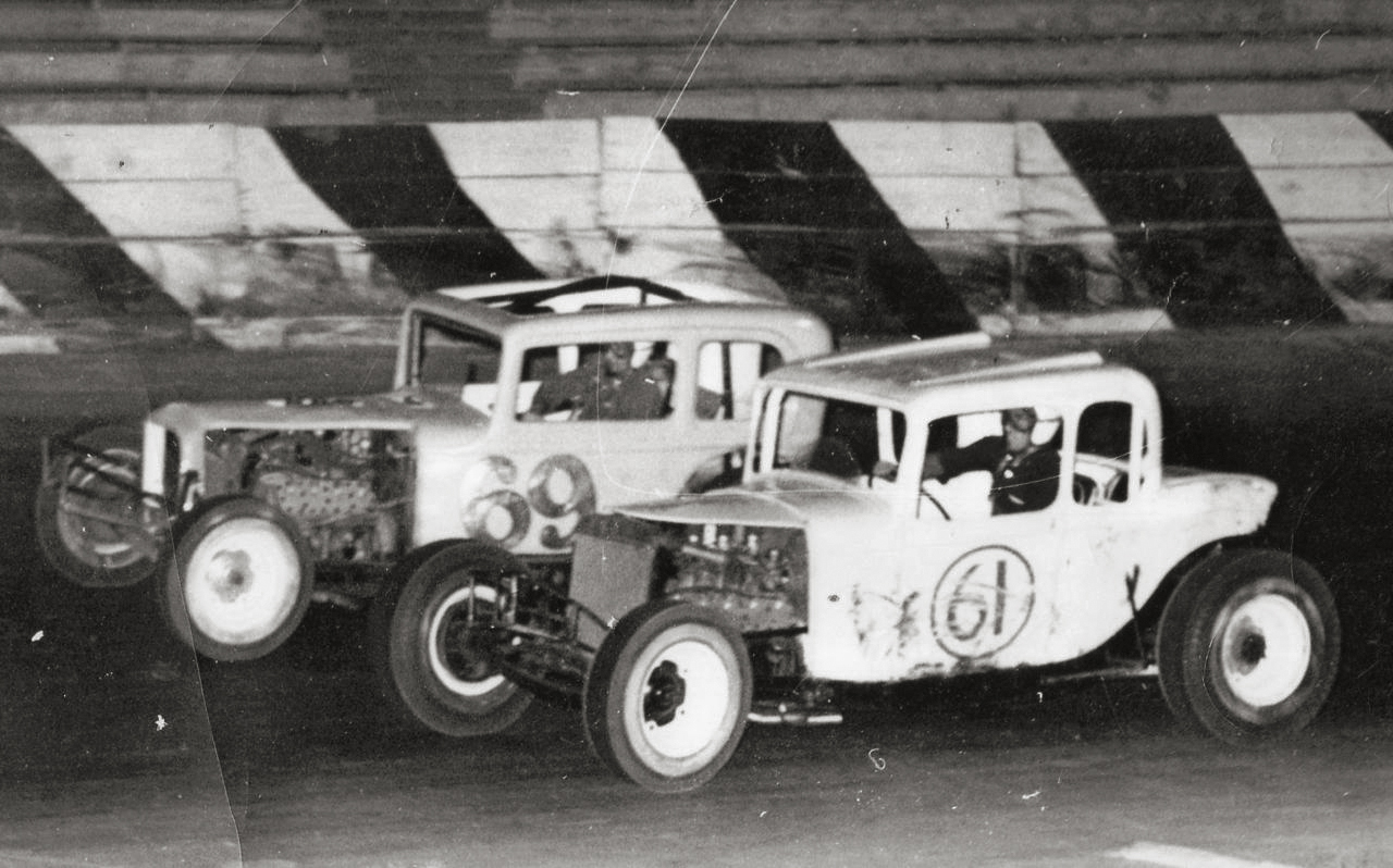 Herb (69) and Howard (61) Kaeding racing modifieds at San Jose Speedway in the early 1960s.