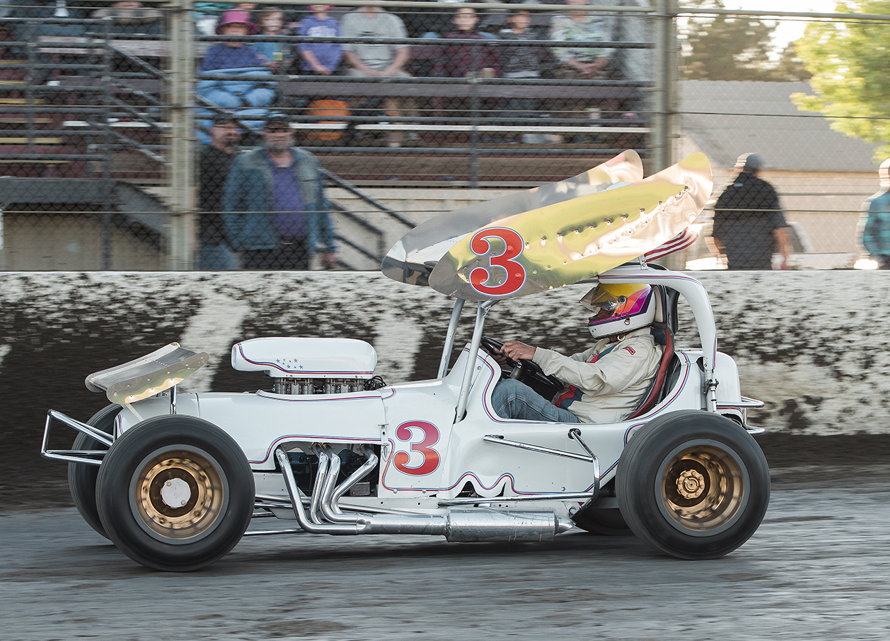 Howard Kaeding drives his restored super modified at Ocean Speedway in Watsonville during the annual Kaeding tribute race event.