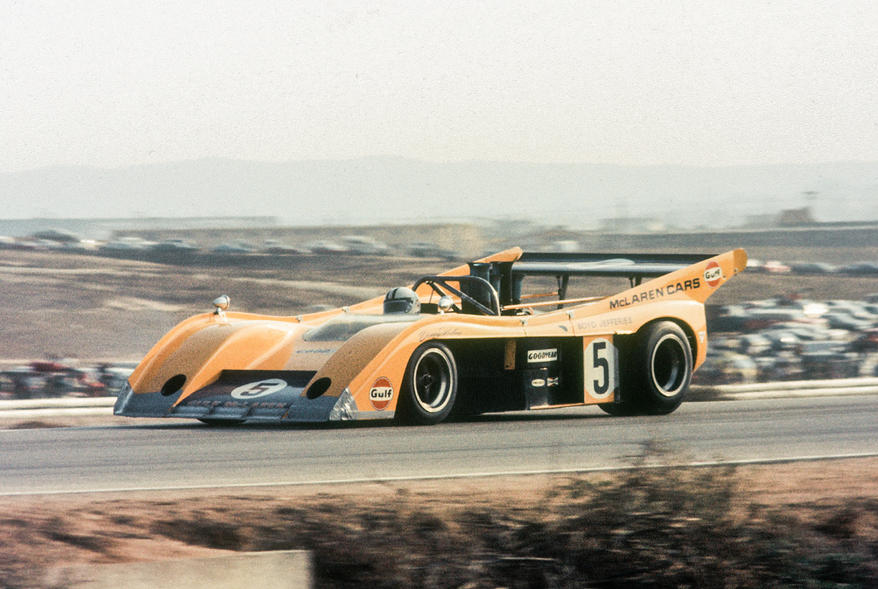 Kiwi Denny Hulme in the Chevrolet powered Mclaren M20. Bruce McLaren and Hulme won the championship twice each before Porsche 917 became dominant. In all McLaren won the Can-Am championship six times. At Riverside Hulme qualified in second place to put him on the front row but after the engine suffered a broken cam follower towards the end of the race he pitted to finish in 19th place. The wing and the wide body of the car provided massive downforce but even that could barely keep the huge power of the 8 liter engine under control. Hulme's teammate Peter Revson finished in second place.