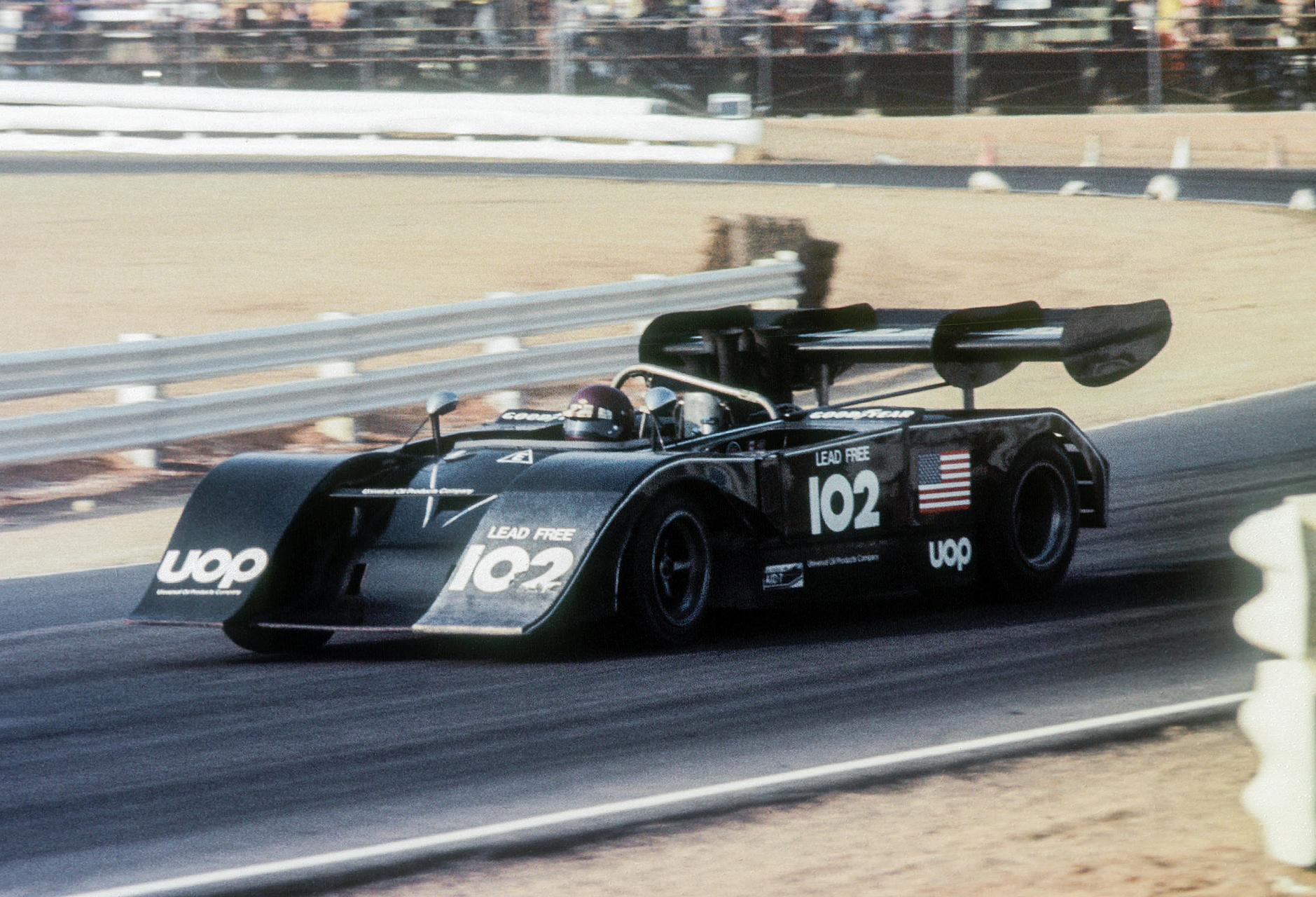 The unique, Chevrolet-powered Shadow Mk lll driven by Bobby Allison. The Universal Oil Products sponsored car placed fourth on the day despite DNFing on the last lap with a broken input shaft. Teammate Jackie Oliver in the number 101 Shadow broke a piston before the race and did not start. In 1974 Oliver won the last Can Am championship in the turbocharged 8 liter Shadow before the team moved on to Formula One and Can Am collapsed.Shadow team principle Don Nichols was a colorful and somewhat mysterious figure who was one of the last successful American F1 privateers. They cars were designed by Brit Peter Bryant.